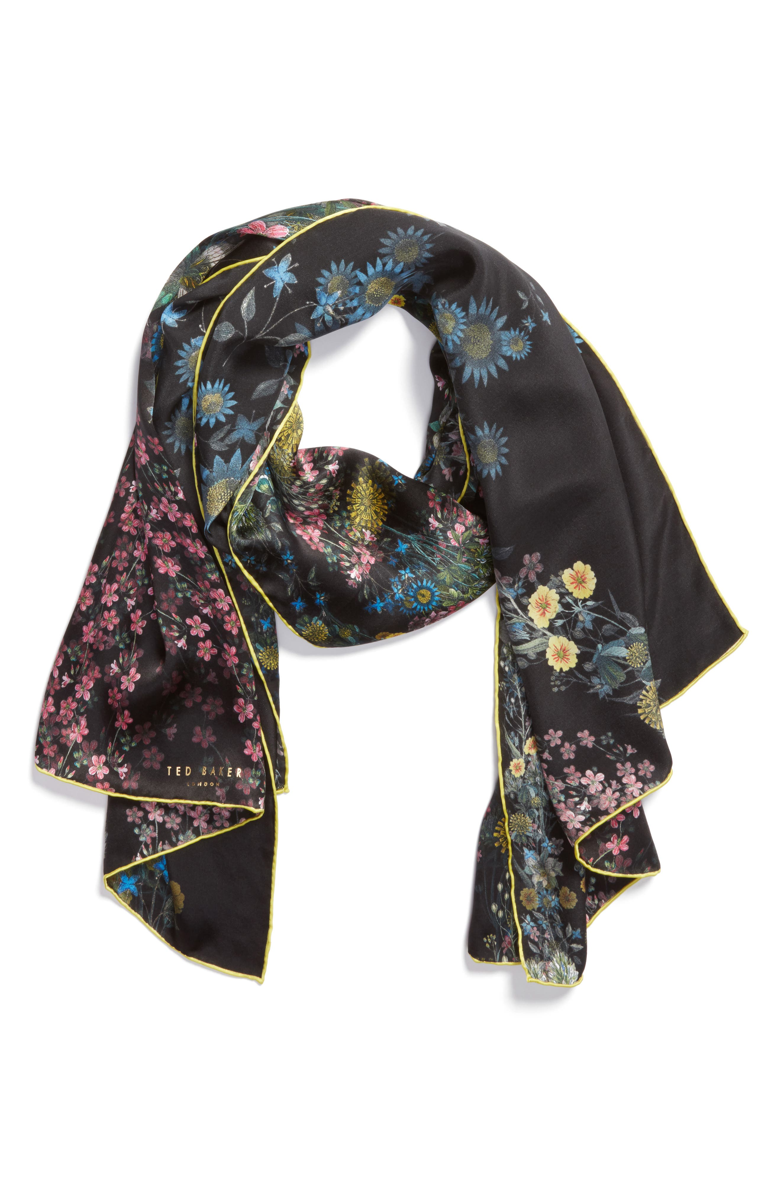 Unity Floral Silk Scarf,                             Alternate thumbnail 2, color,