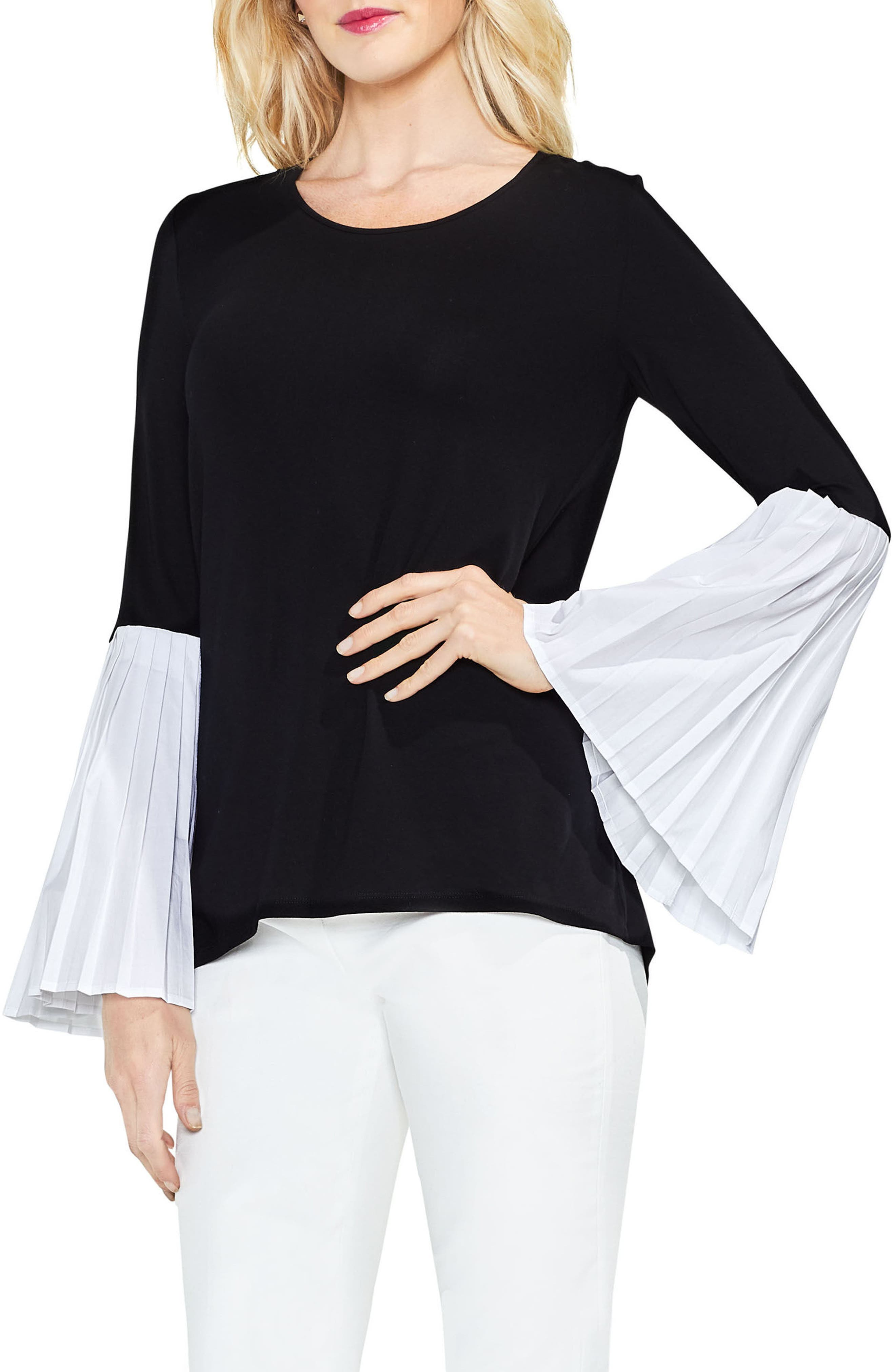 Pleated Bell Sleeve Mix Media Top,                             Main thumbnail 1, color,
