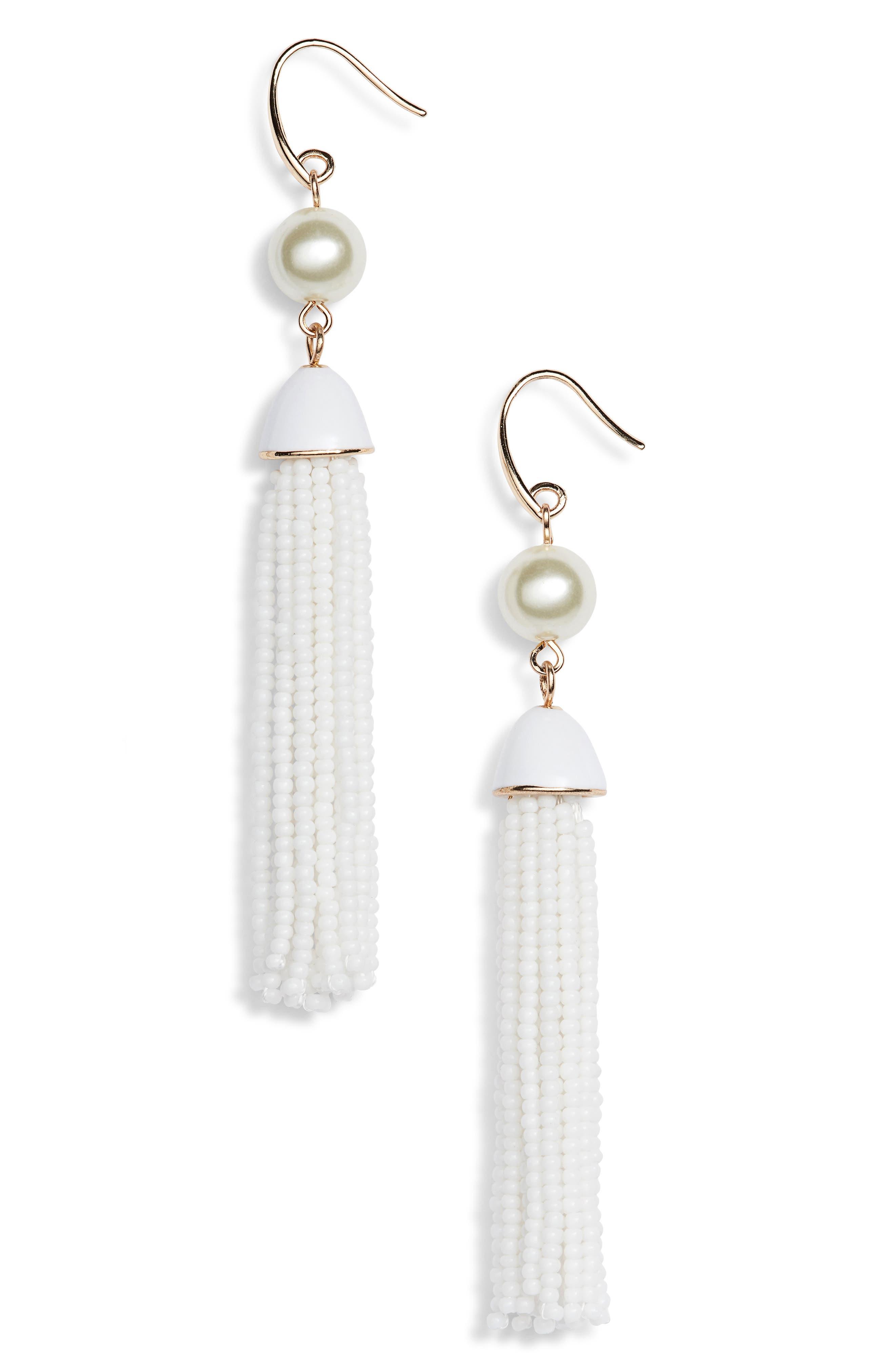 Beaded Tassel Drop Earrings,                             Main thumbnail 1, color,                             100