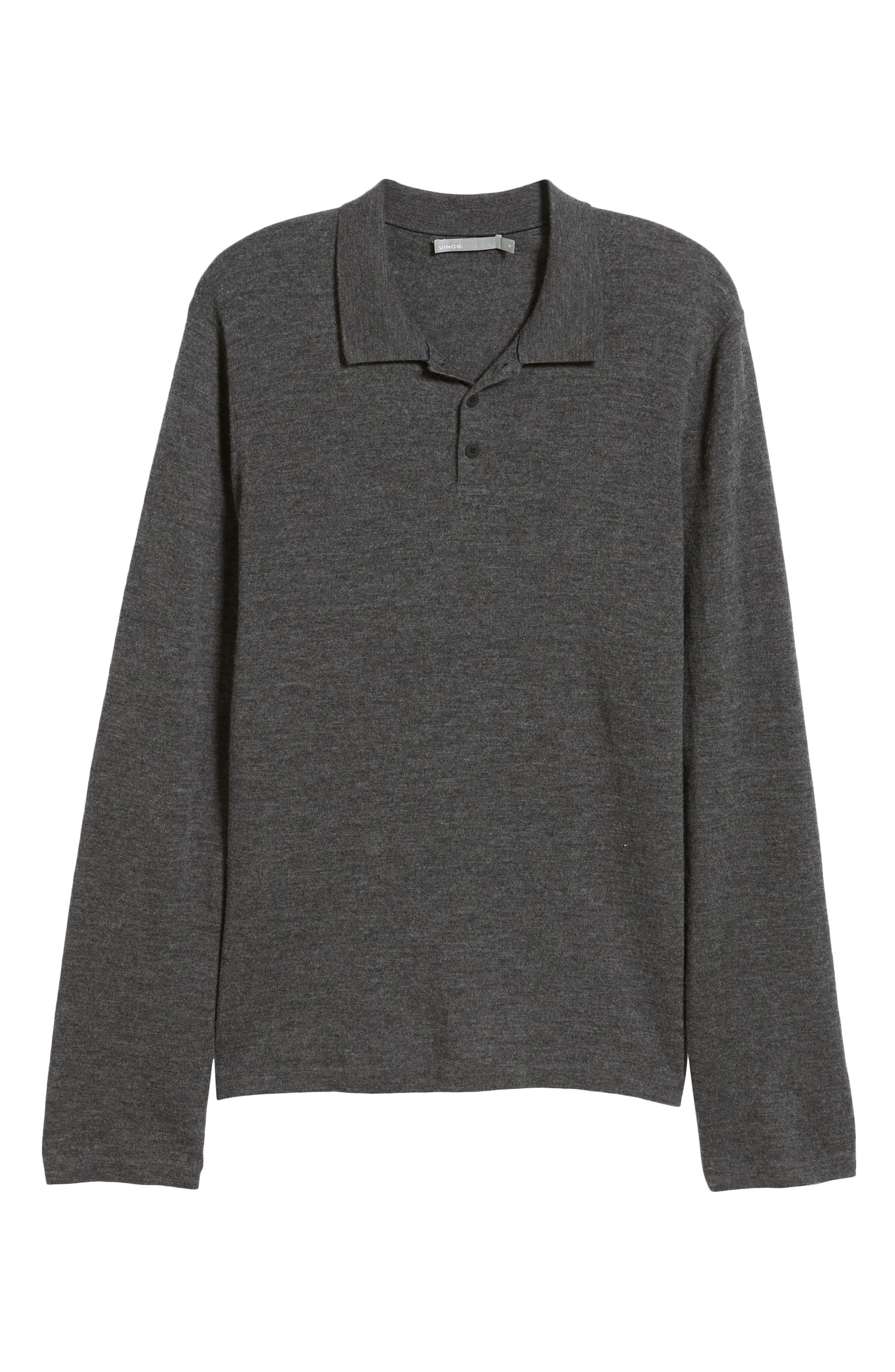 Regular Fit Long Sleeve Wool & Cashmere Polo,                             Alternate thumbnail 6, color,                             020