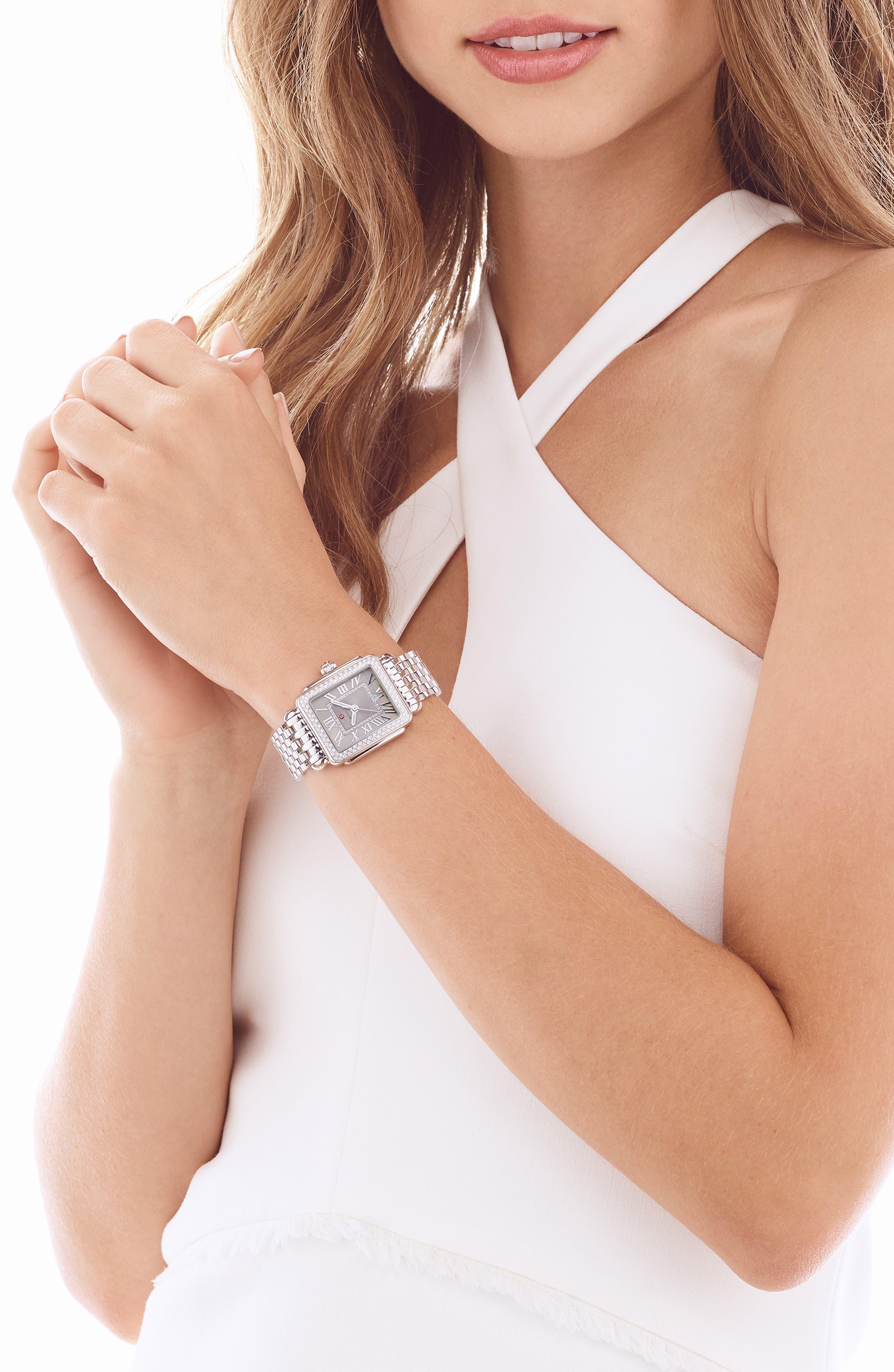 Deco 16 16mm Bracelet Watchband,                             Alternate thumbnail 9, color,                             SILVER