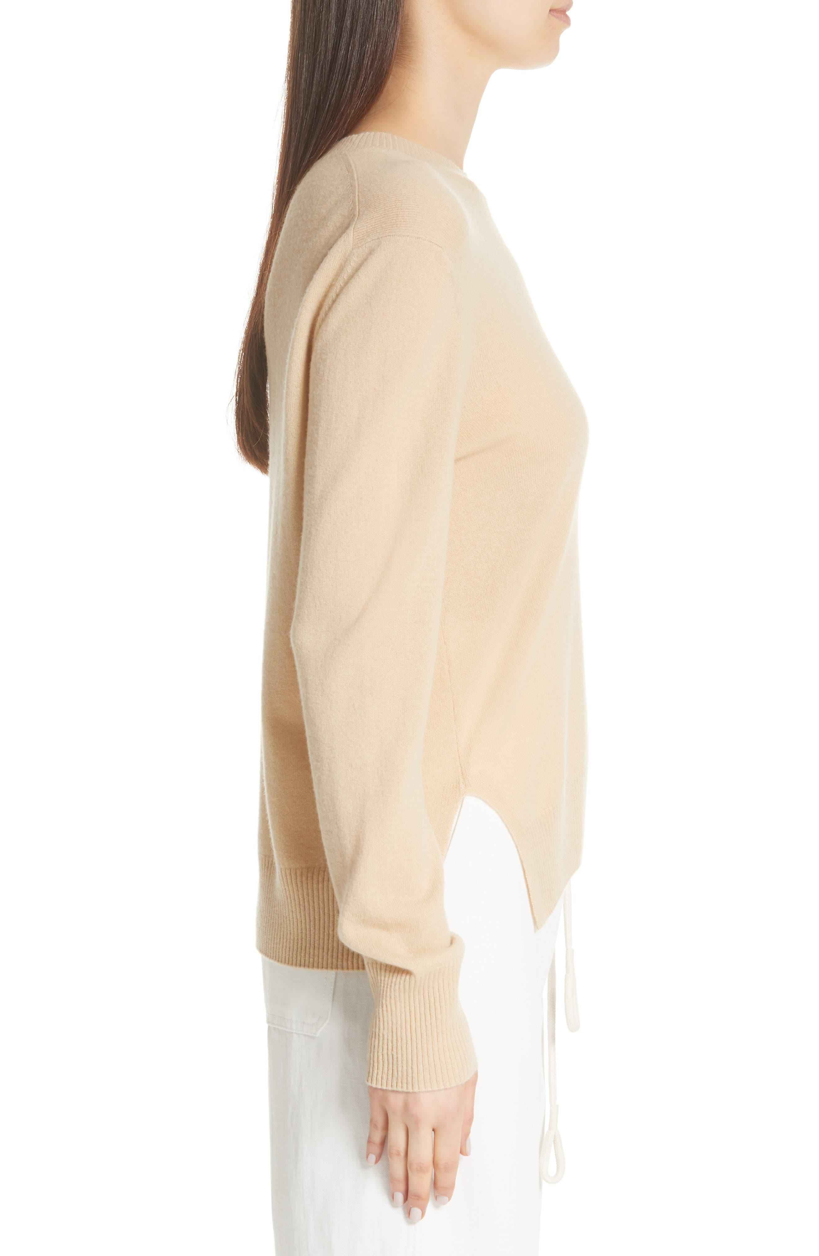 Side Cinch Cashmere Crewneck Sweater,                             Alternate thumbnail 3, color,                             293