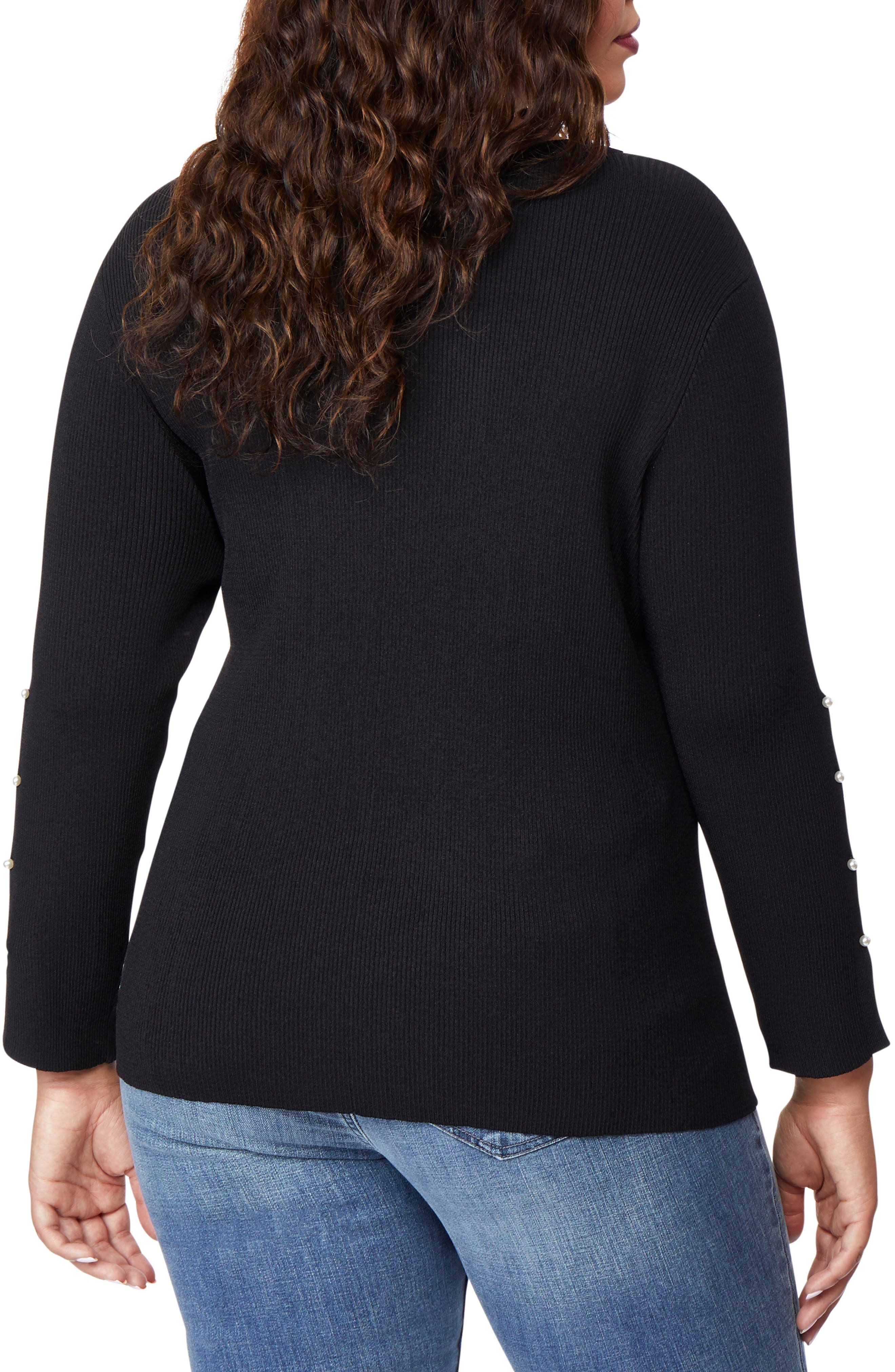 Beaded Sleeve Sweater,                             Alternate thumbnail 2, color,                             002