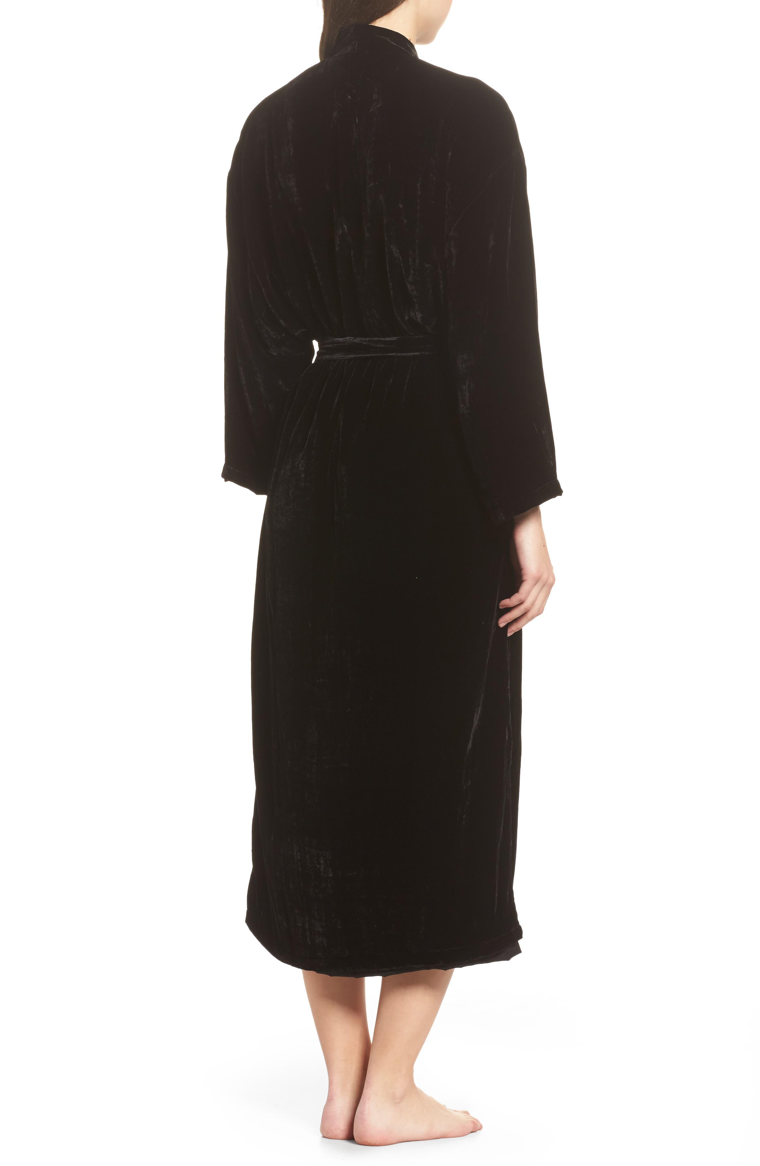 Long Velvet Robe,                             Alternate thumbnail 2, color,                             BLACK
