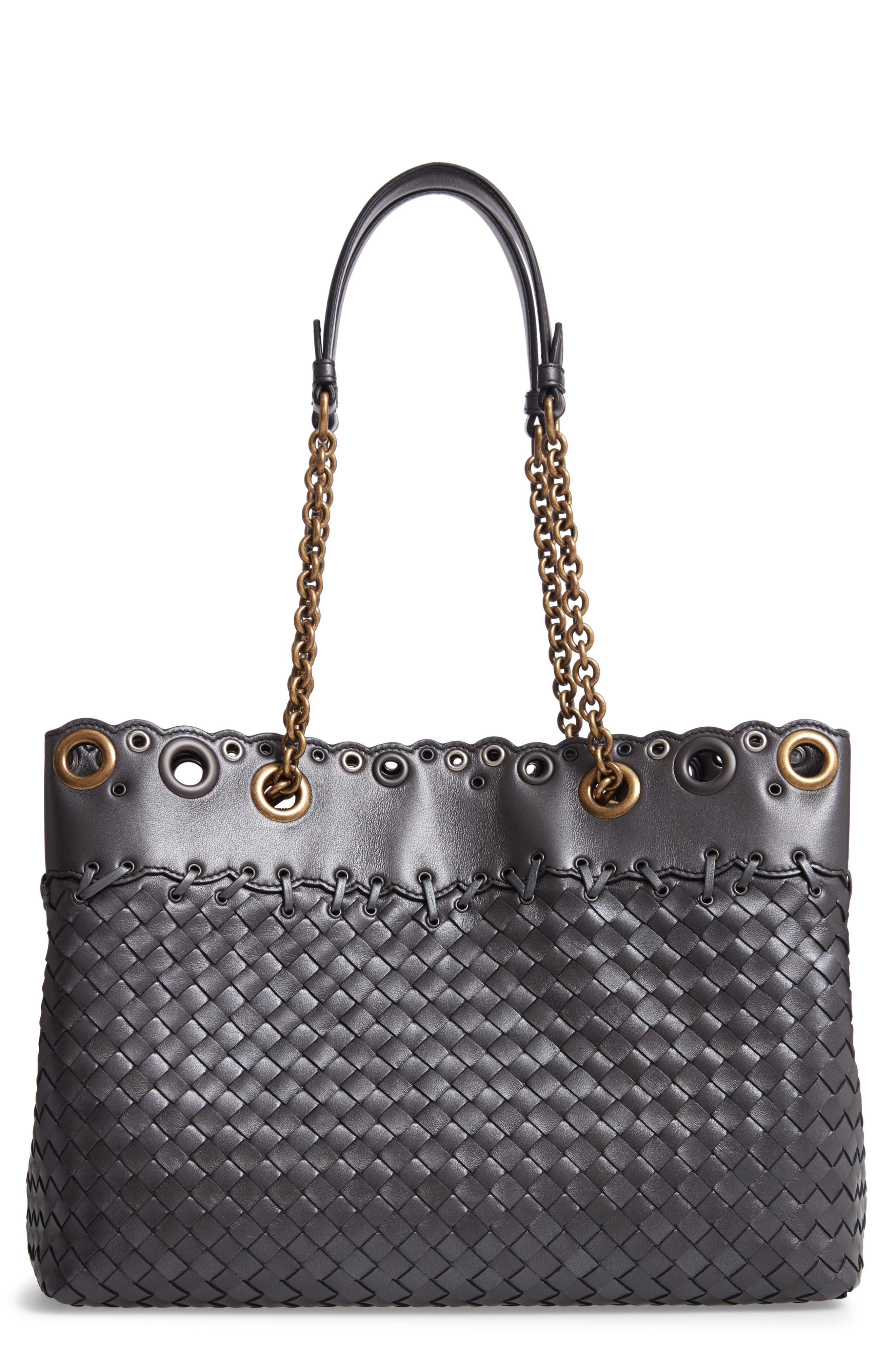 Intrecciato Leather Tote Bag,                         Main,                         color, 040