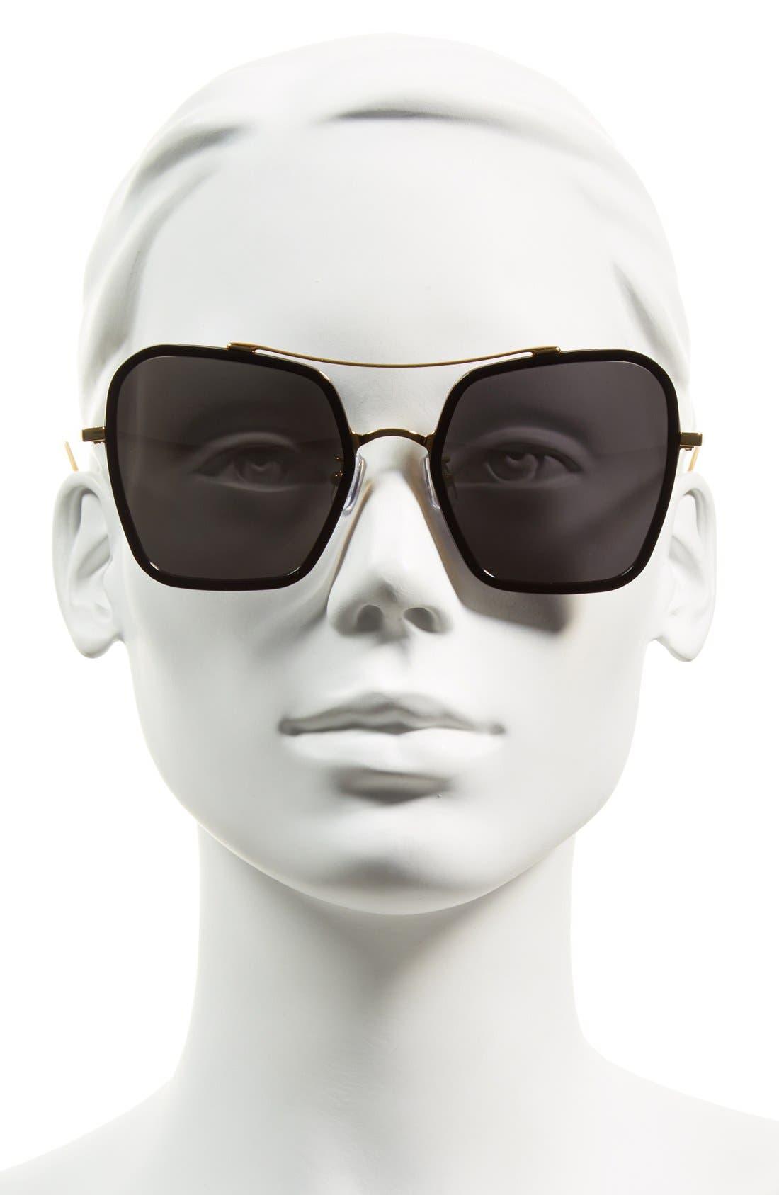53mm Retro Square Sunglasses,                             Alternate thumbnail 5, color,