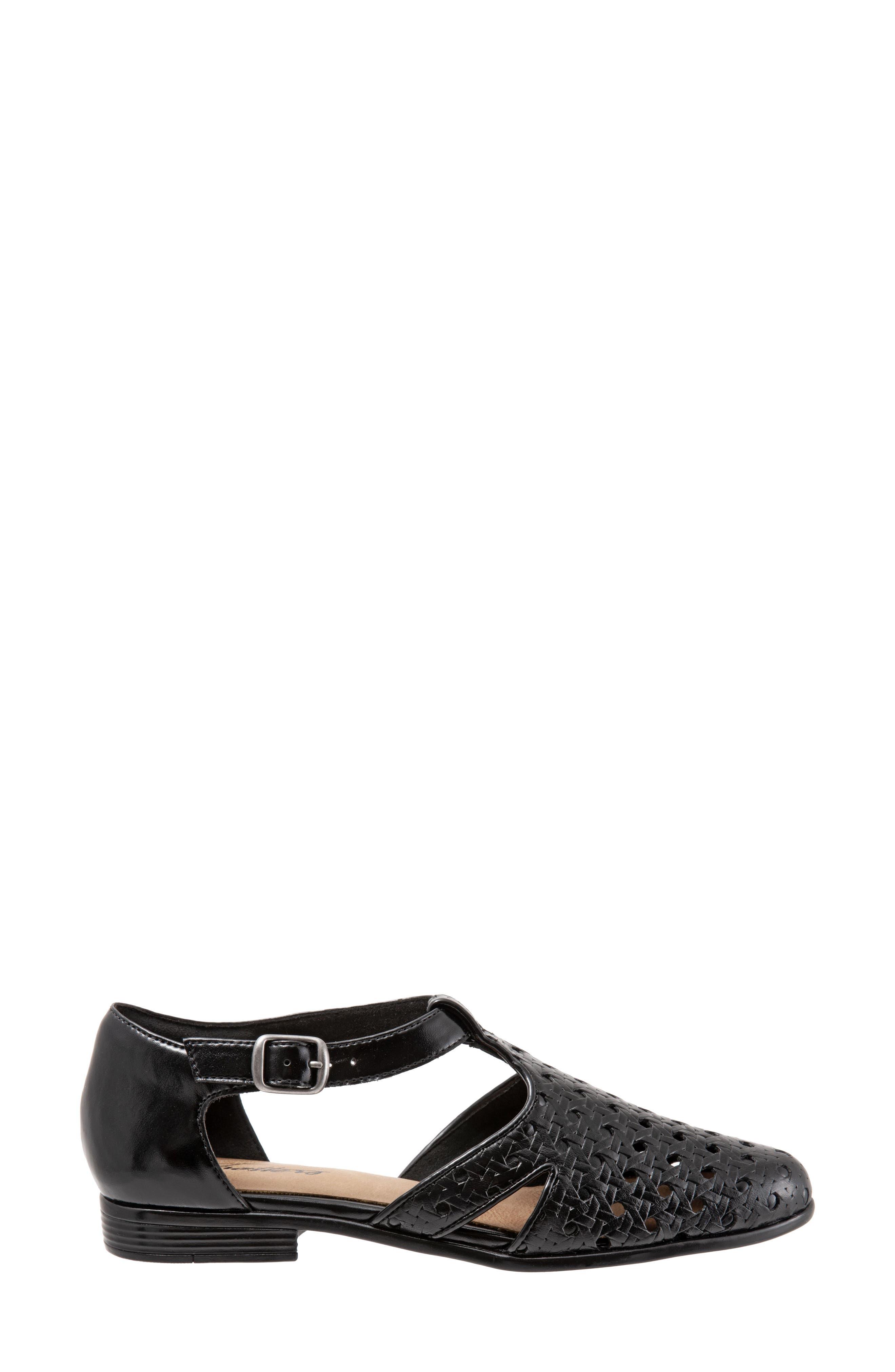 Leatha Open Weave Skimmer Flat,                             Alternate thumbnail 3, color,                             BLACK LEATHER