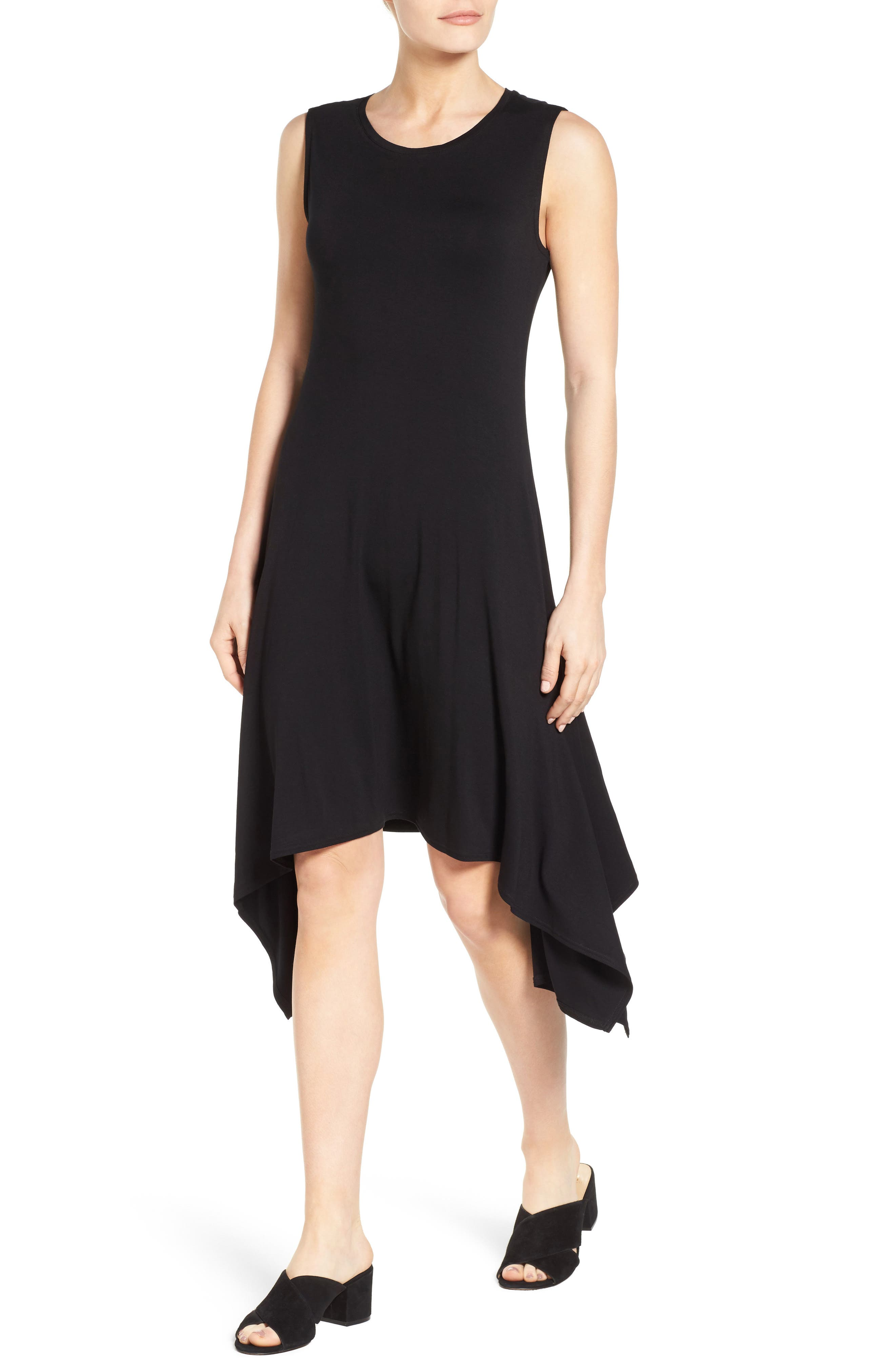 Stretch Knit Shift Dress,                             Alternate thumbnail 4, color,                             RICH BLACK