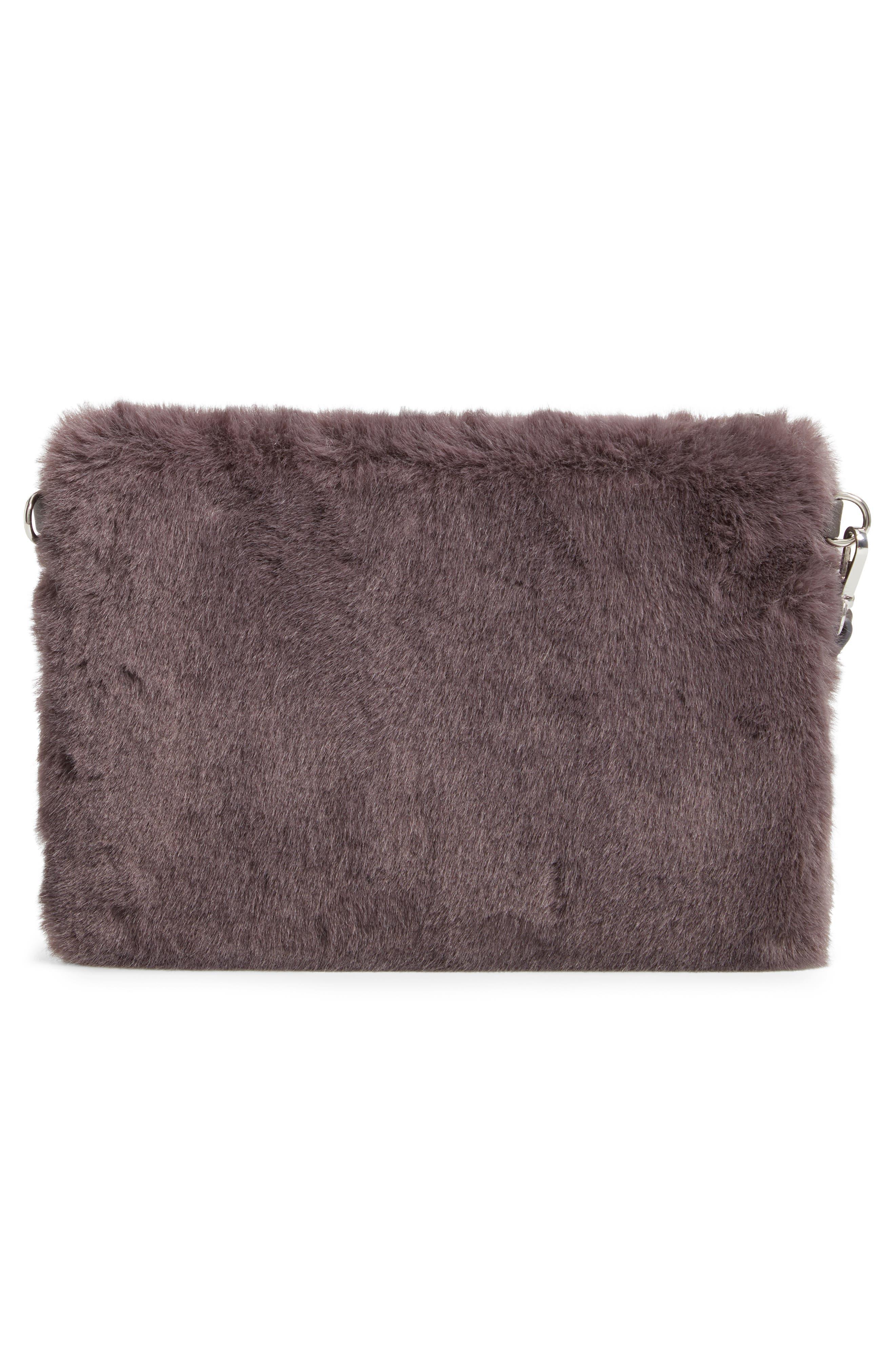 Astley Faux Fur Convertible Clutch,                             Alternate thumbnail 4, color,                             GREY CASTLEROCK