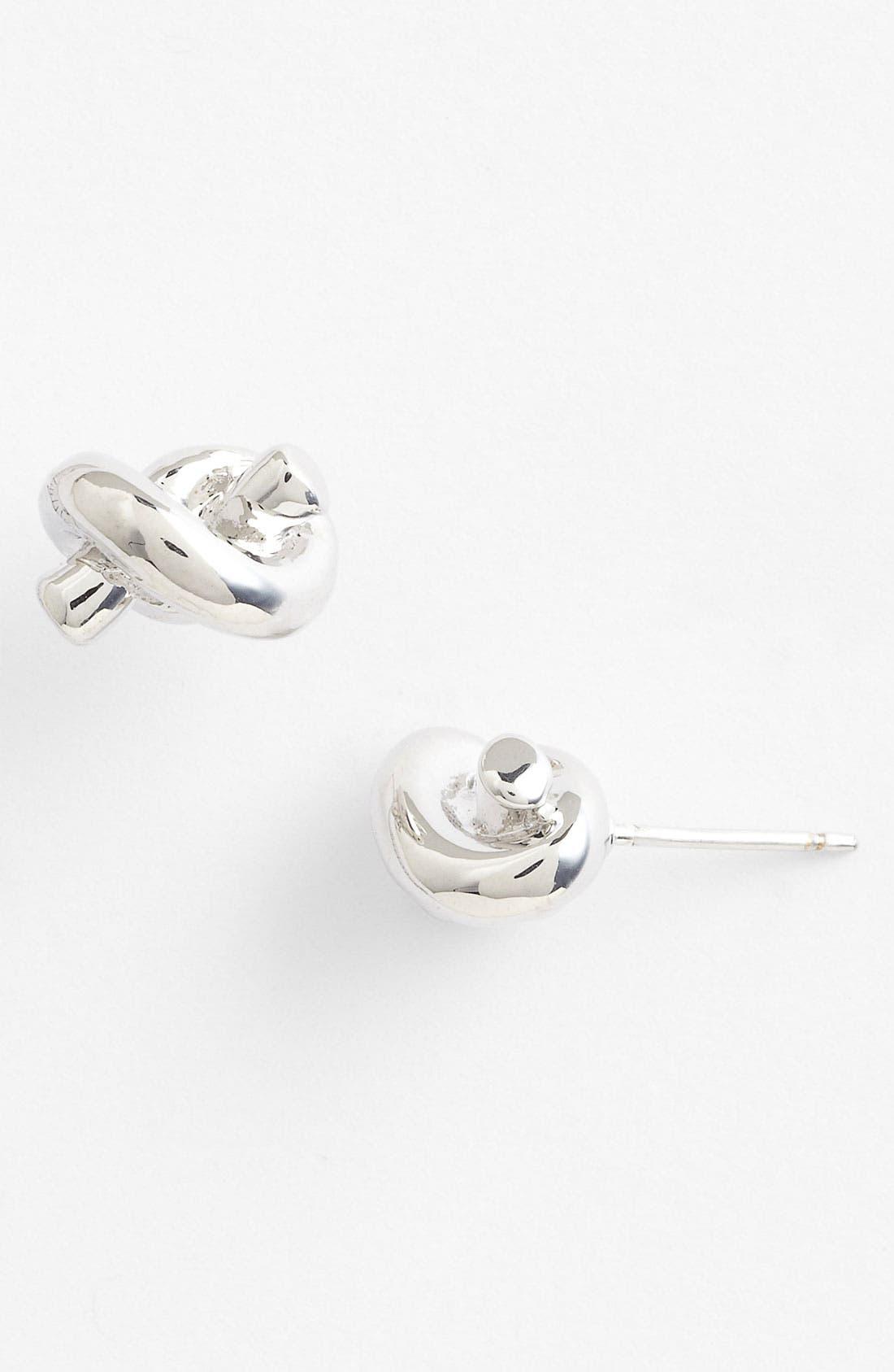 'sailors knot' mini stud earrings, Main, color, SILVER