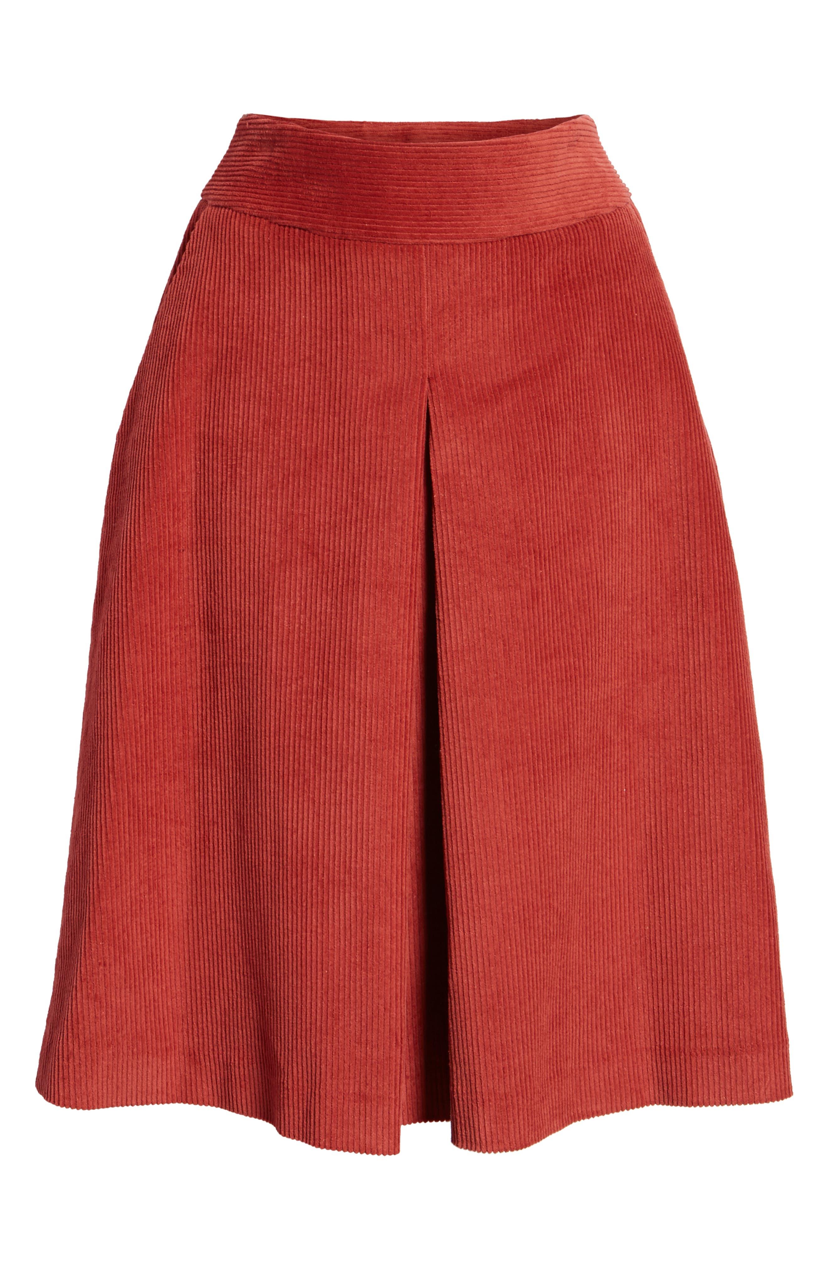 Corduroy Knee Length Skirt,                             Alternate thumbnail 6, color,                             660