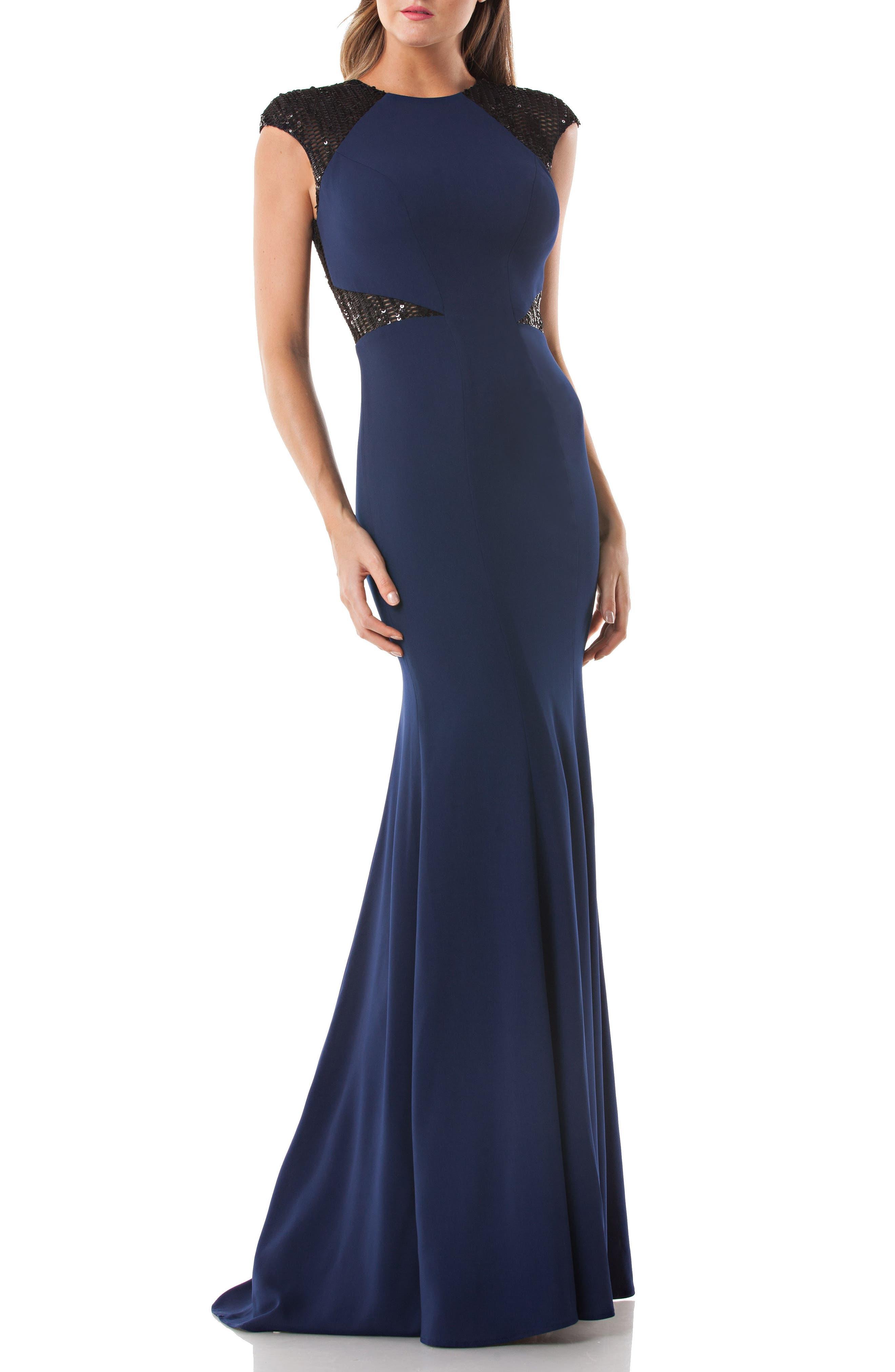 Sequin Trim Trumpet Gown,                         Main,                         color, 410