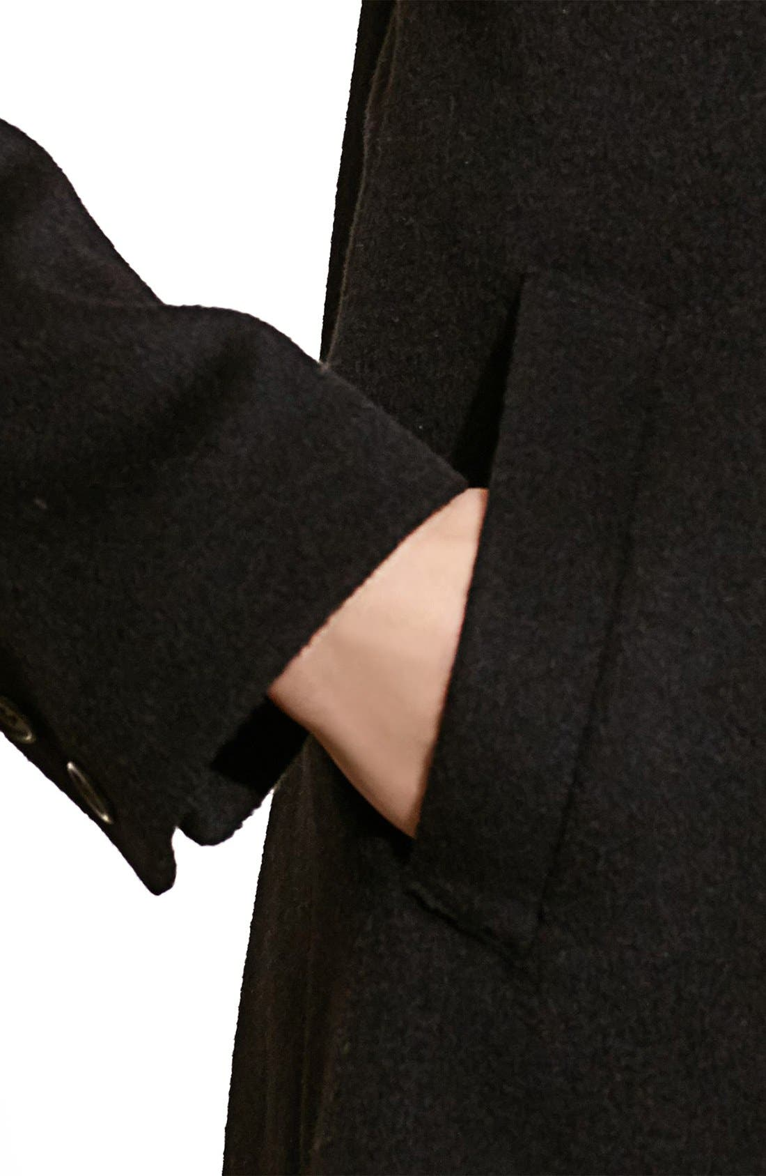 Fit & Flare Military Coat,                             Alternate thumbnail 2, color,                             BLACK