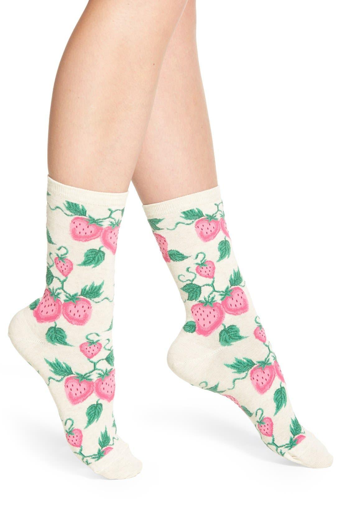 'Strawberries' Socks,                             Main thumbnail 2, color,