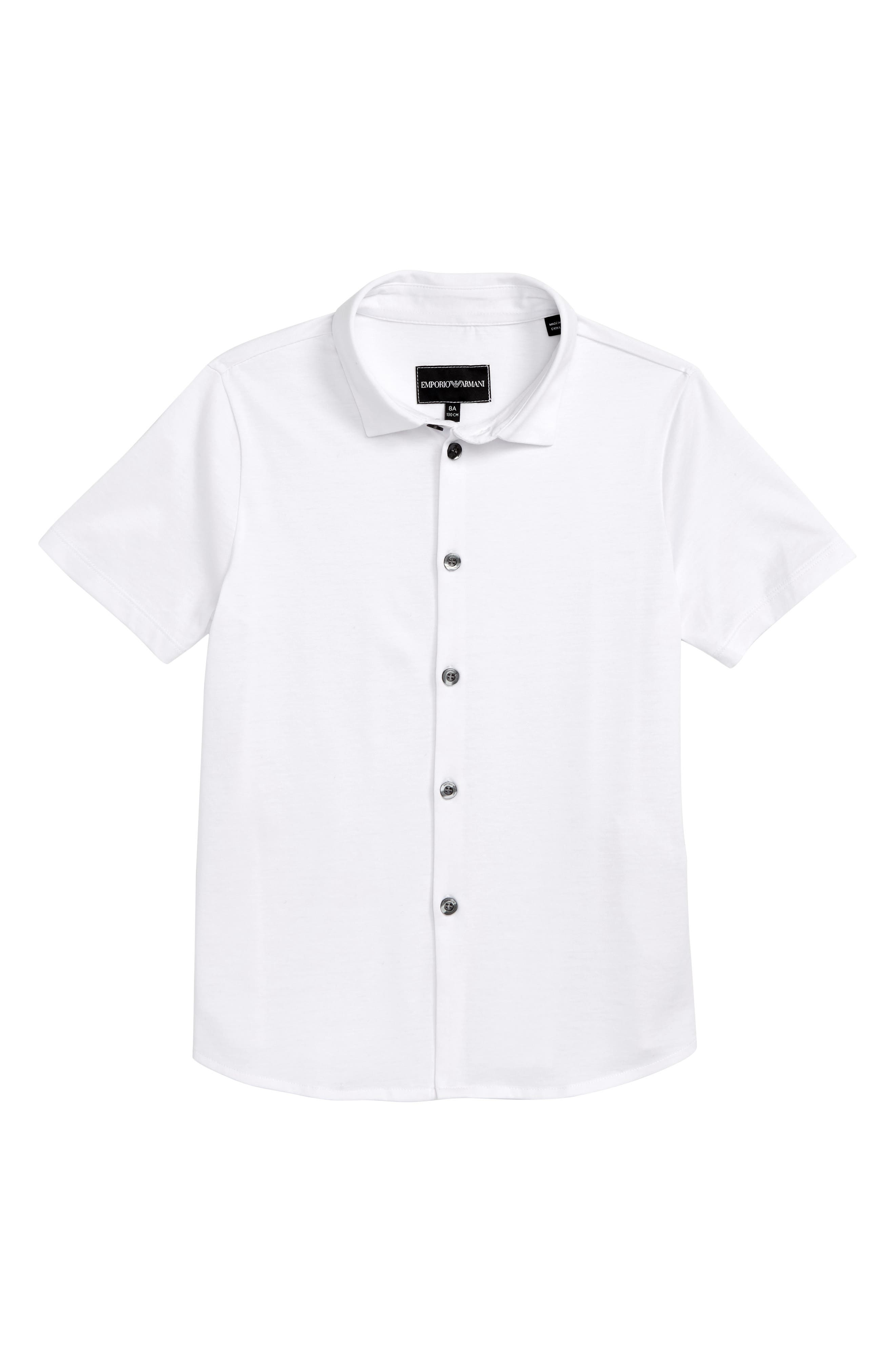 Short Sleeve Cotton Shirt,                         Main,                         color, SOLID WHITE