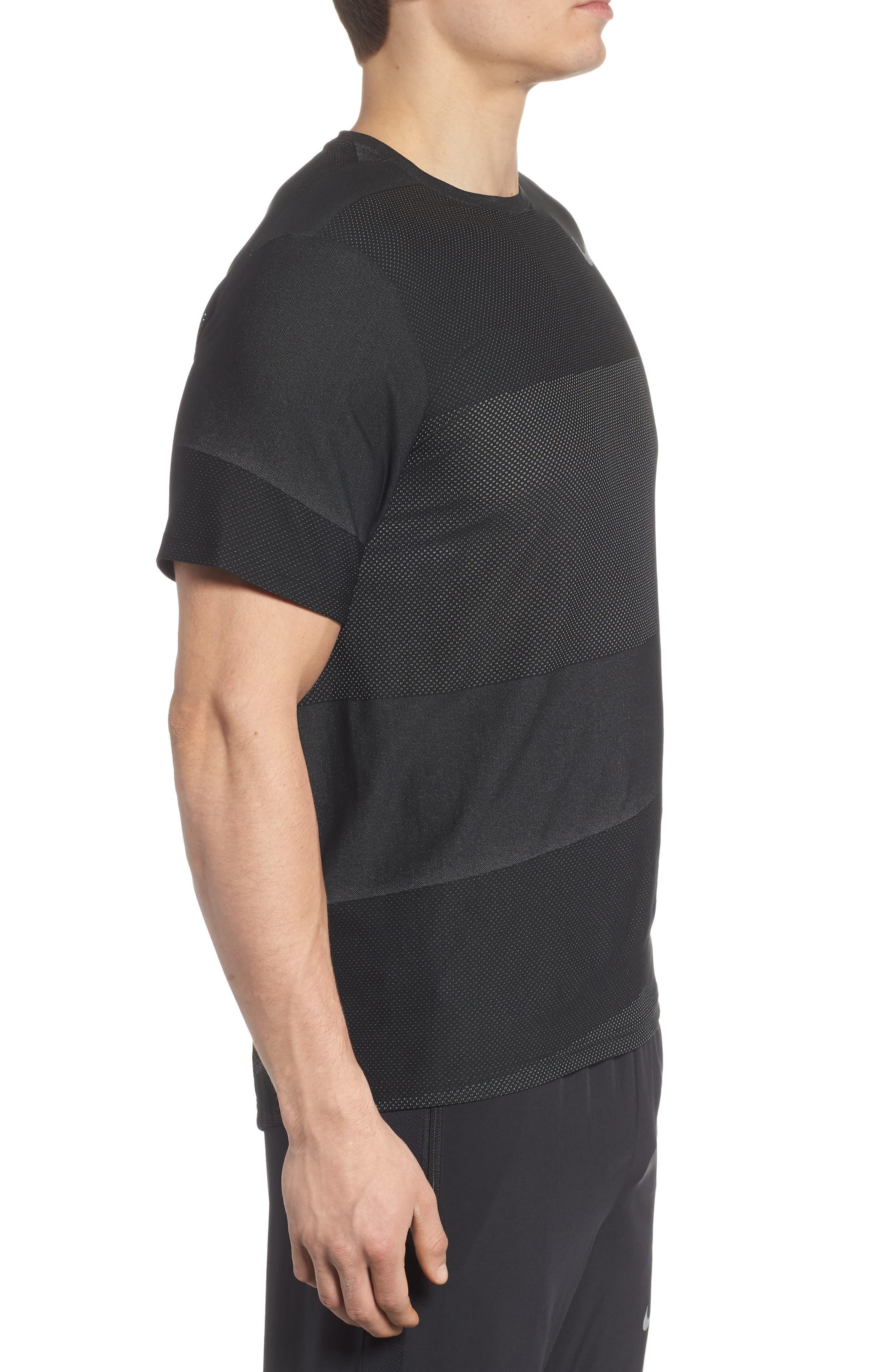 Crewneck Mesh T-Shirt,                             Alternate thumbnail 3, color,                             BLACK/ WHITE/ MTLC HEMATITE