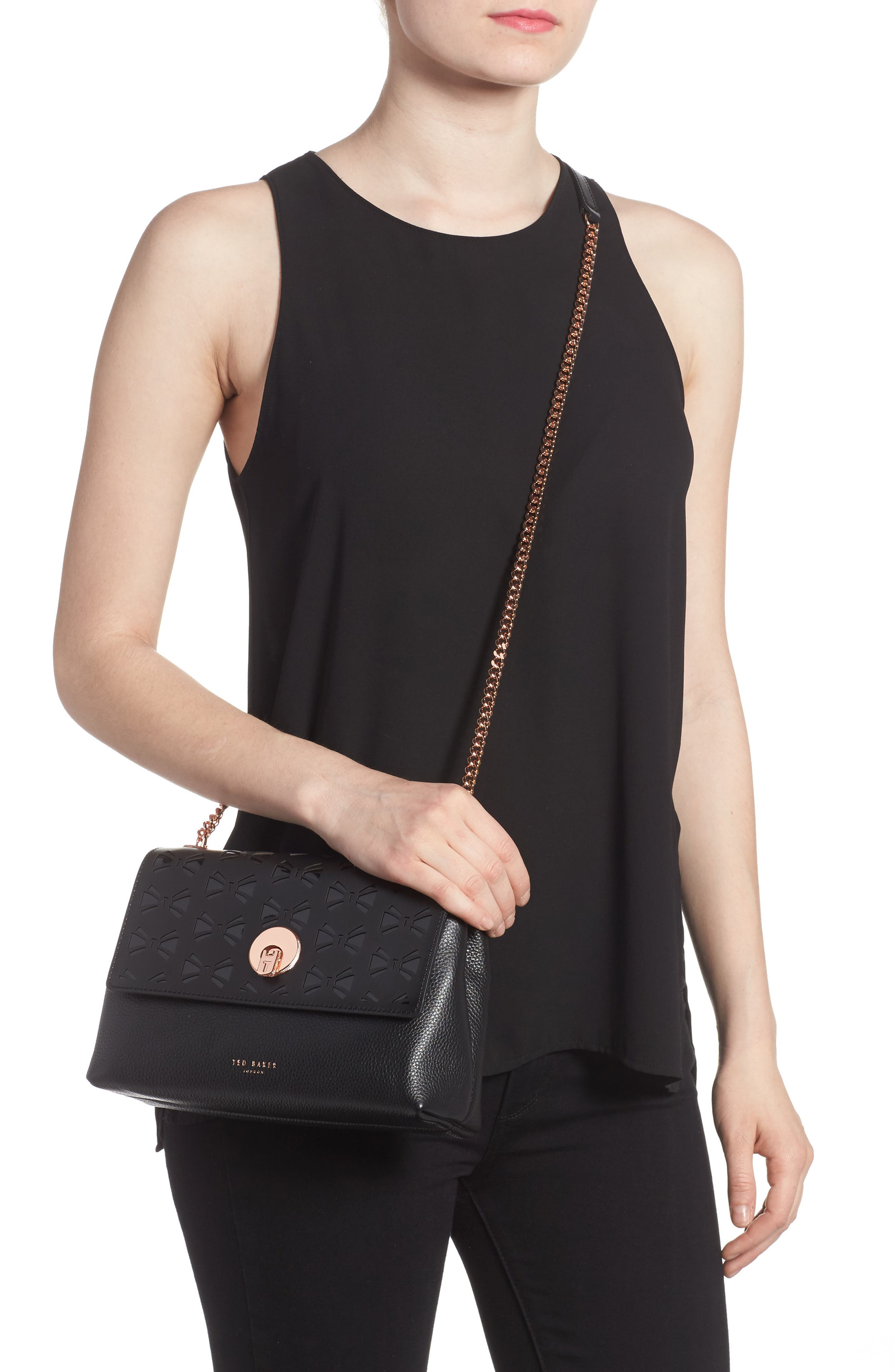 Leather Crossbody Bag,                             Alternate thumbnail 2, color,                             001