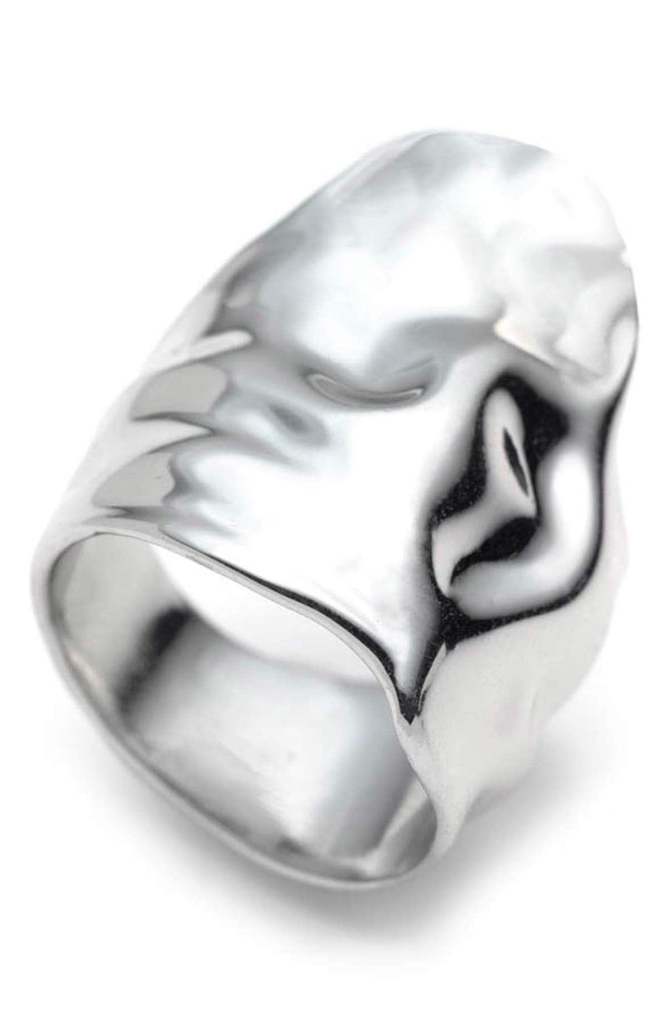 ALEXIS BITTAR Crumpled Asymmetric Statement Ring, Main, color, SILVER