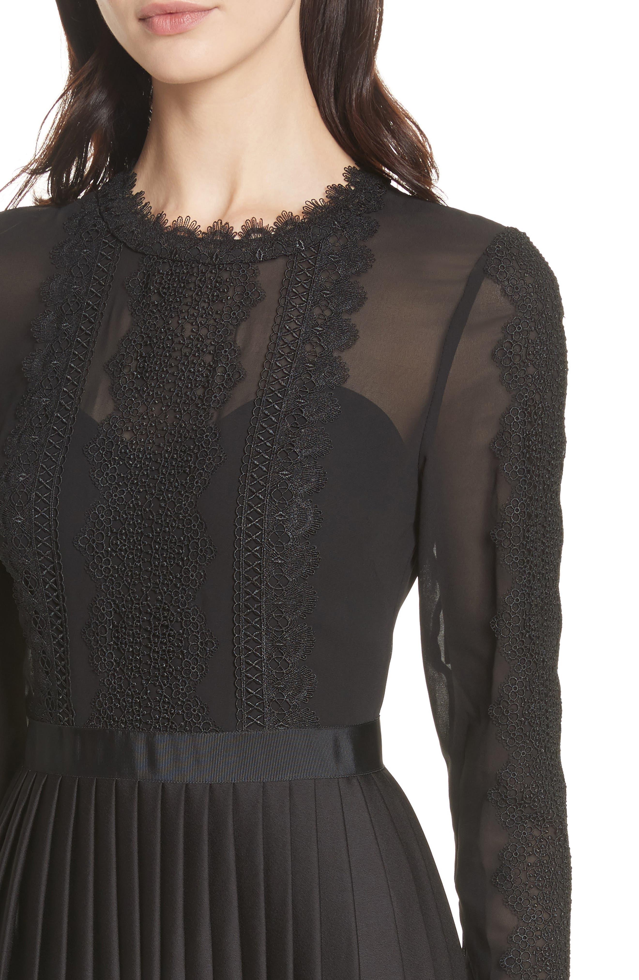 Lace Trim Pleated Midi Dress,                             Alternate thumbnail 4, color,                             001