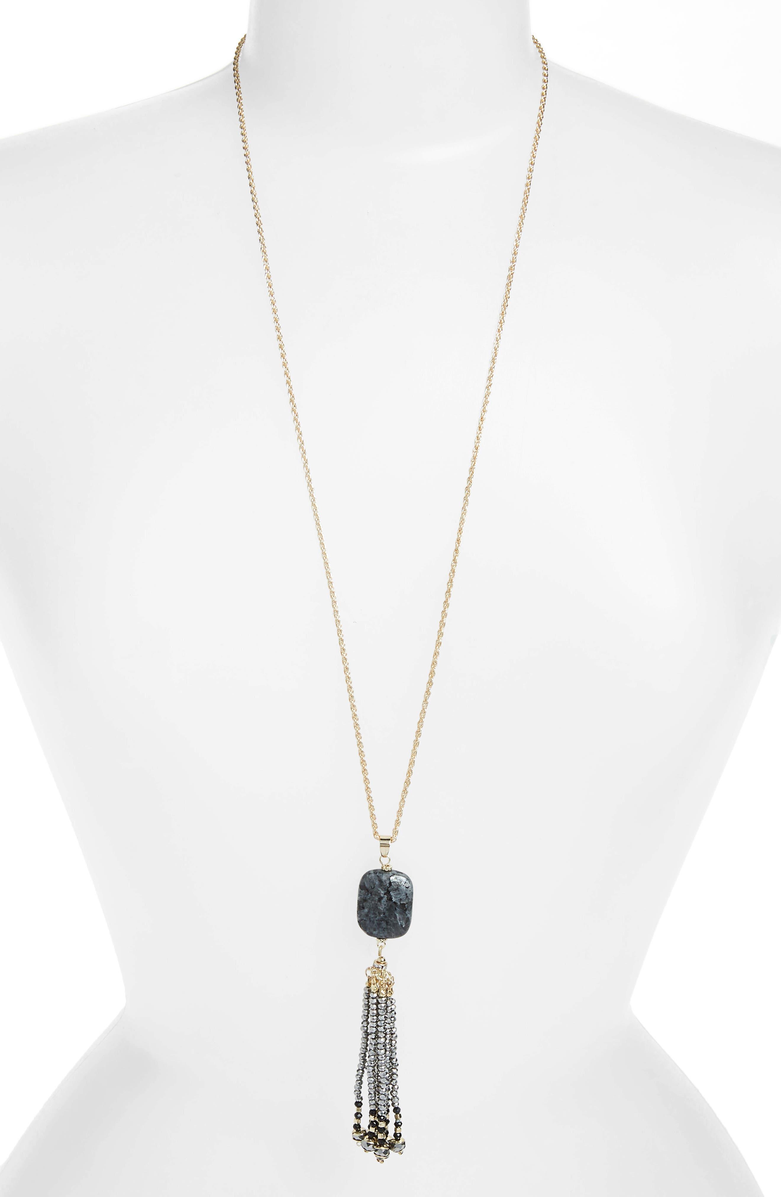 STELLA + RUBY Tassel Necklace in Gold/ Grey