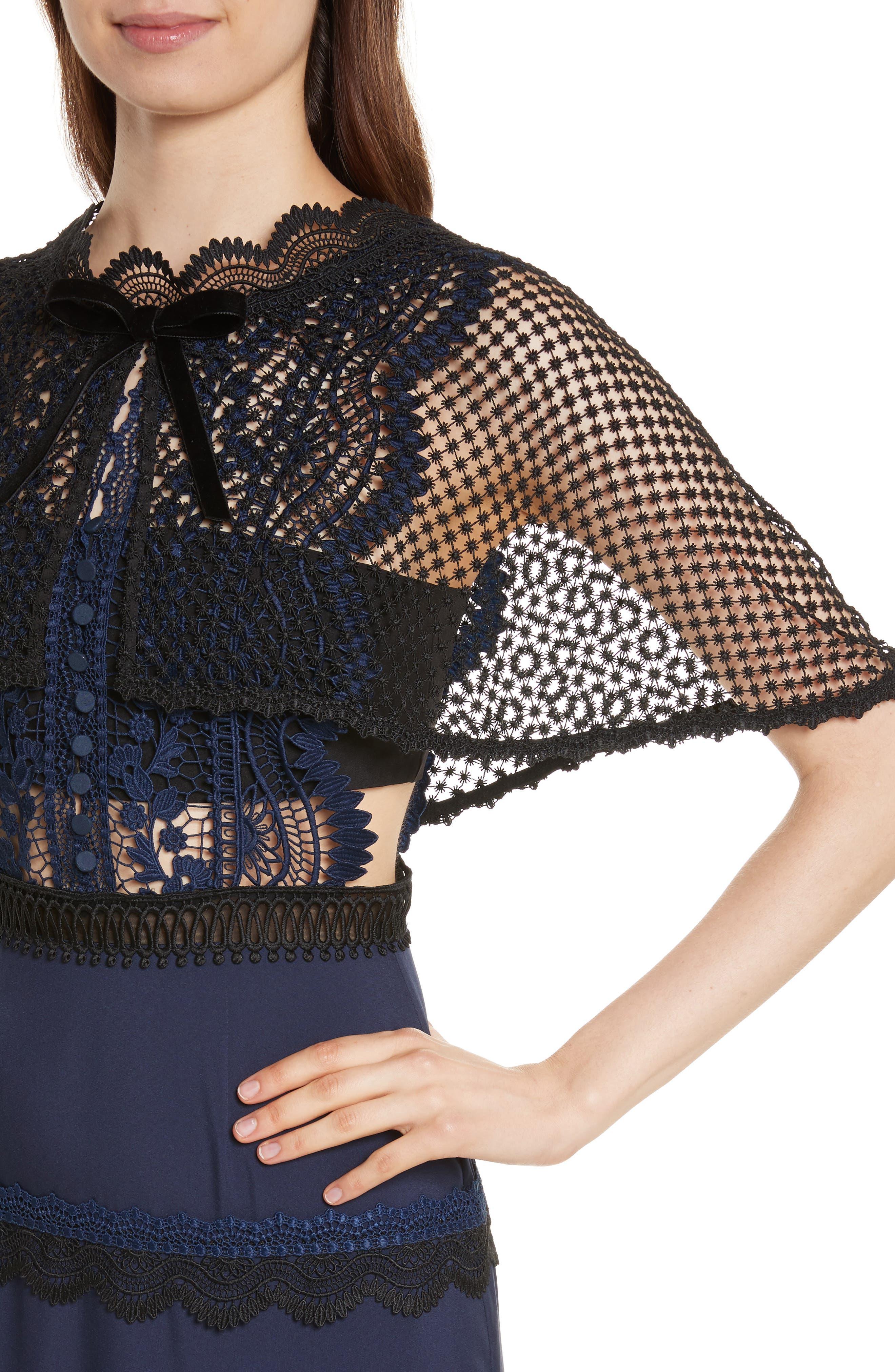 Bellis Lace Cape Maxi Dress,                             Alternate thumbnail 4, color,                             400
