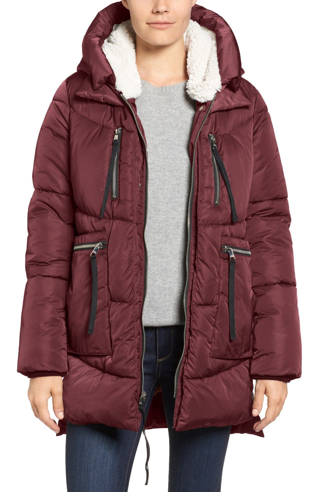 Hooded Puffer Jacket with Faux Shearling Trim,                             Main thumbnail 5, color,