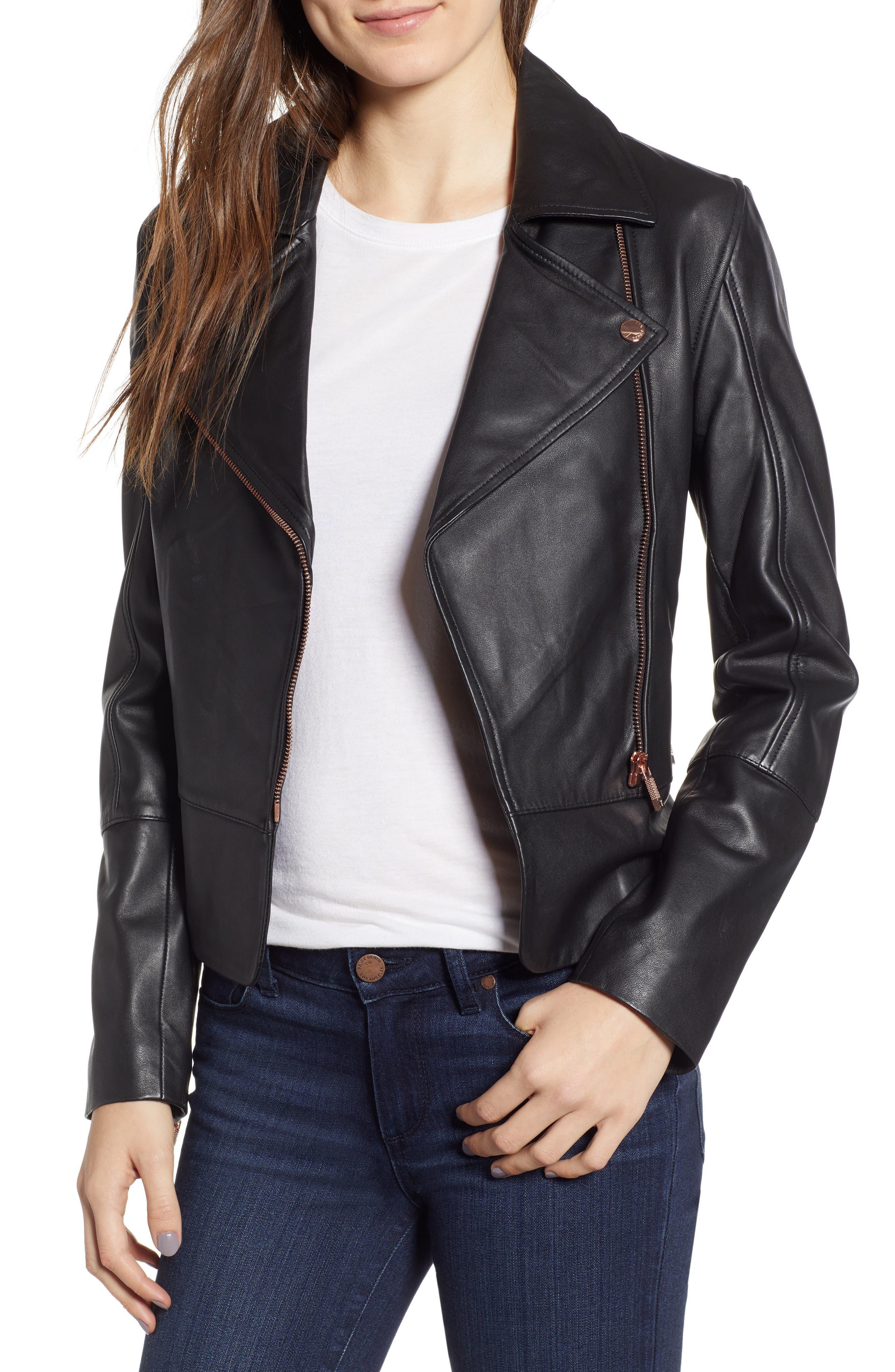 Lizia Minimal Biker Jacket,                             Main thumbnail 1, color,                             BLACK