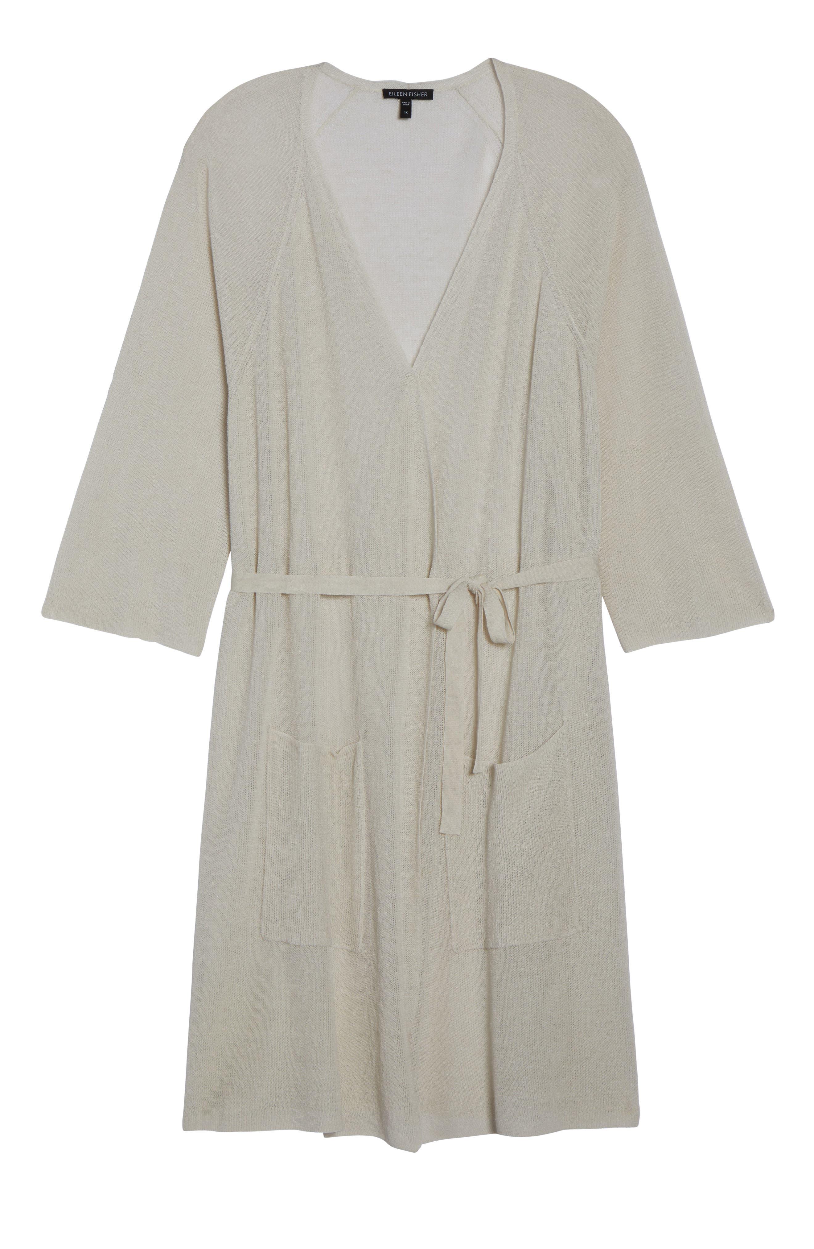 Long Organic Linen Blend Kimono Cardigan,                             Alternate thumbnail 18, color,