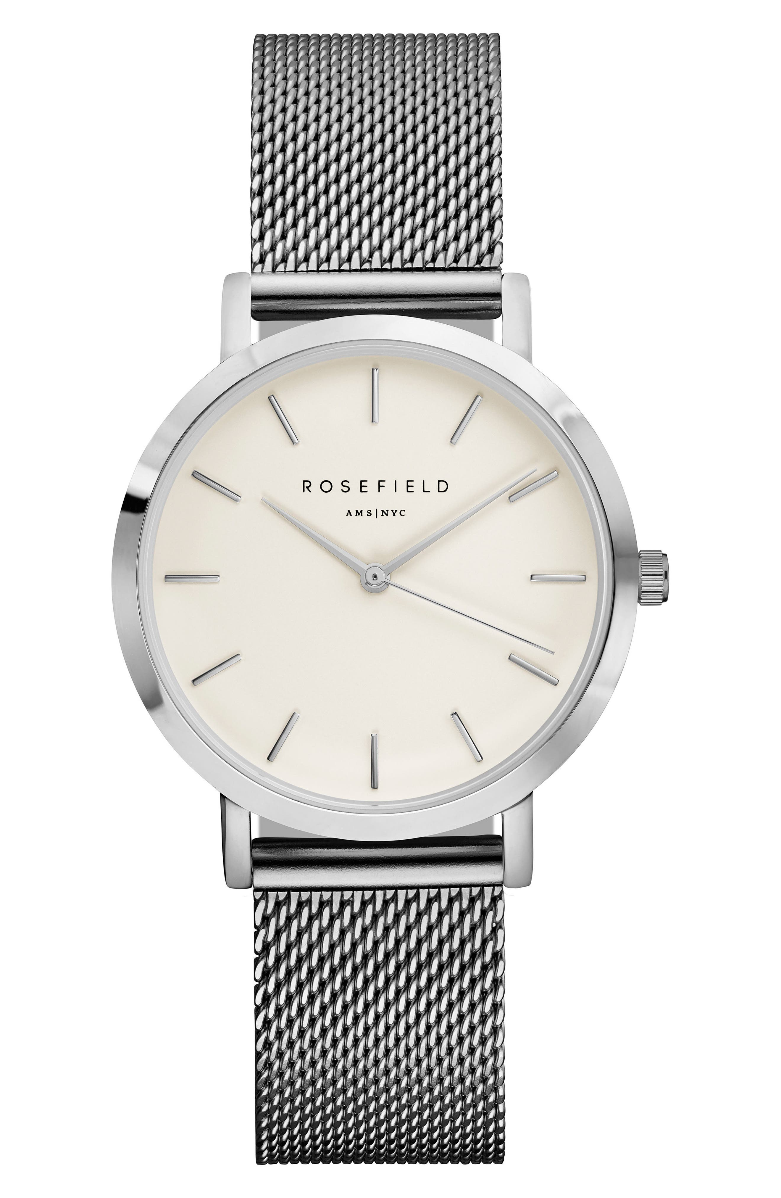 Tribeca Mesh Strap Watch, 33mm,                             Main thumbnail 1, color,                             SILVER/ WHITE/ SILVER