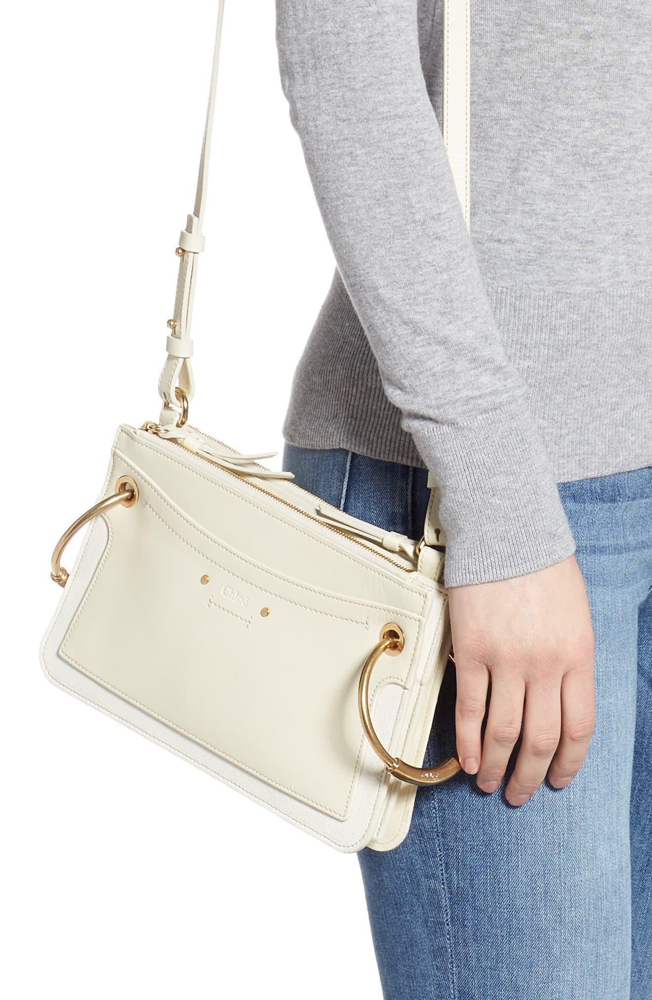 CHLOÉ,                             Small Roy Leather Shoulder Bag,                             Alternate thumbnail 2, color,                             NATURAL WHITE