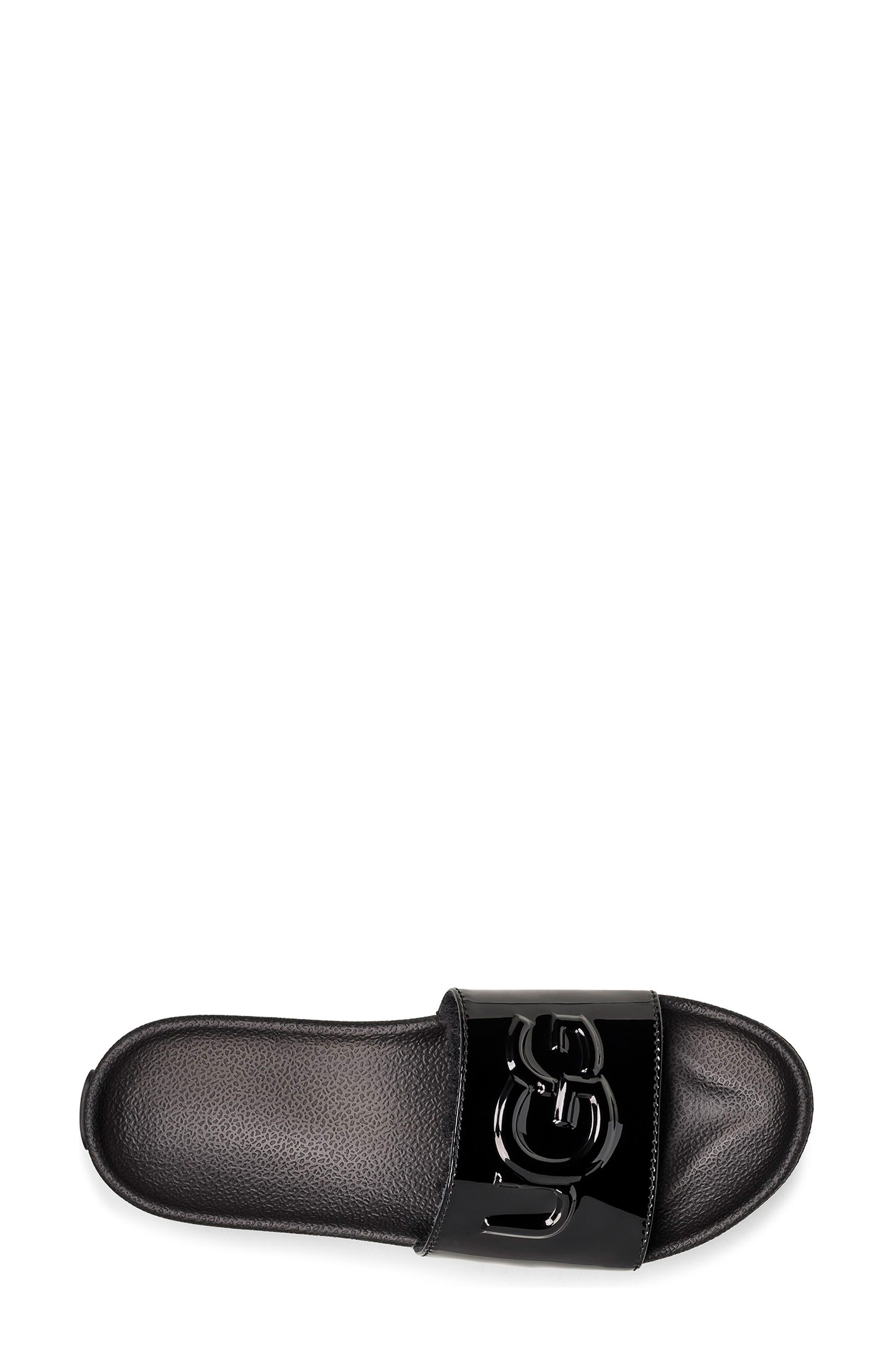 UGG<SUP>®</SUP>,                             Royale Slide Sandal,                             Alternate thumbnail 4, color,                             BLACK