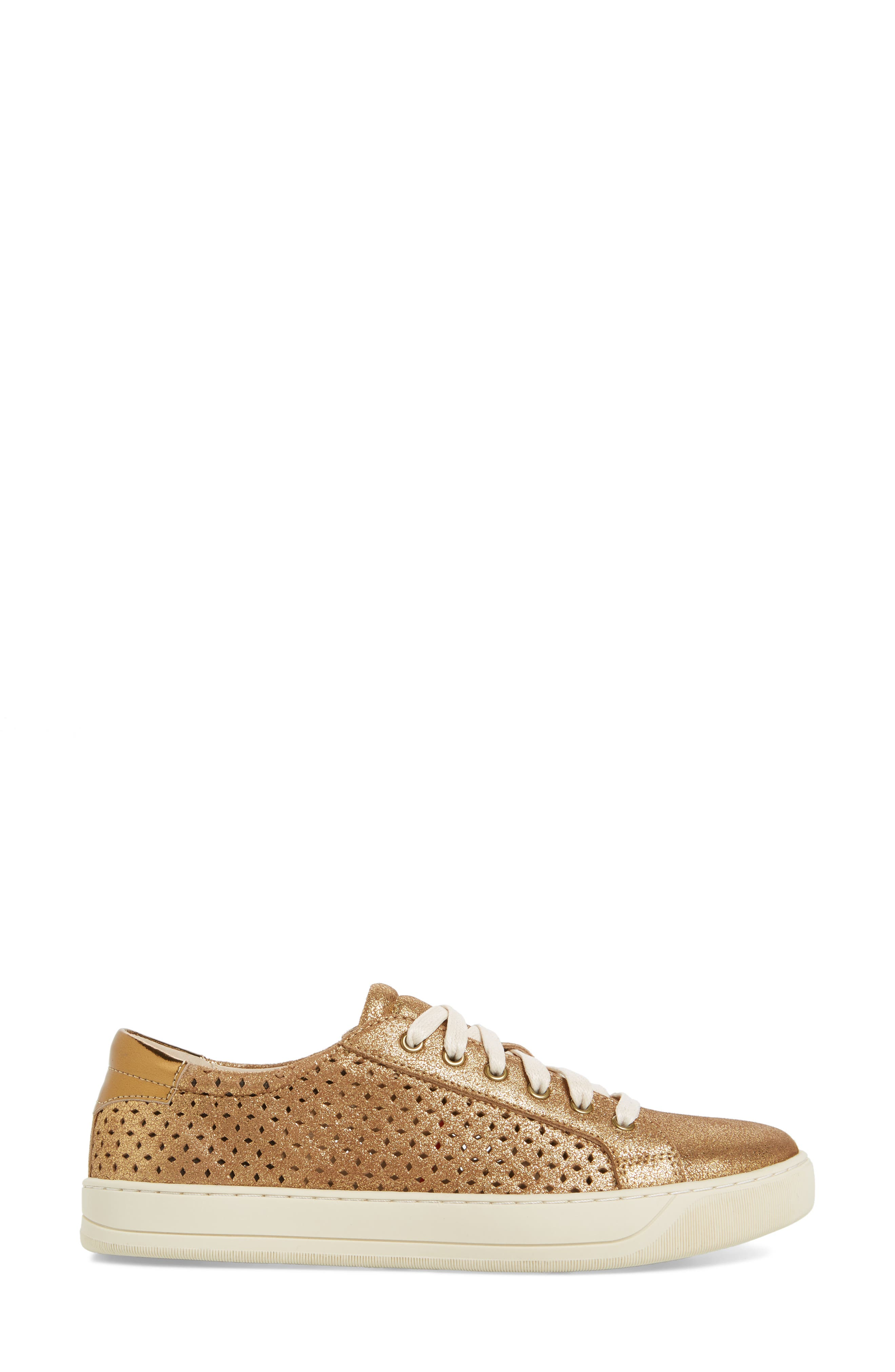 Emerson Perforated Sneaker,                             Alternate thumbnail 3, color,                             GOLD SUEDE