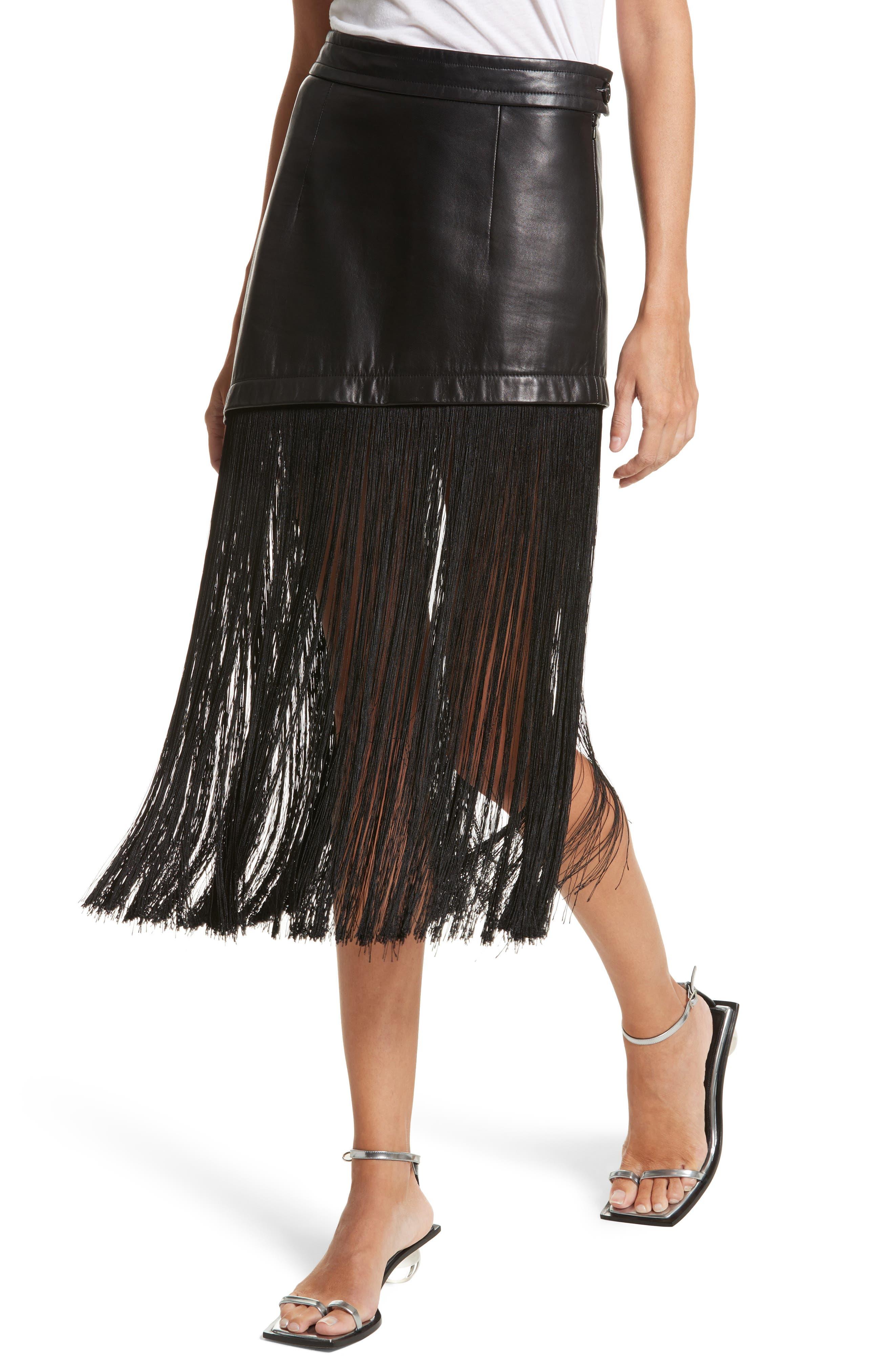 Fringe Hem Leather Miniskirt,                             Alternate thumbnail 4, color,