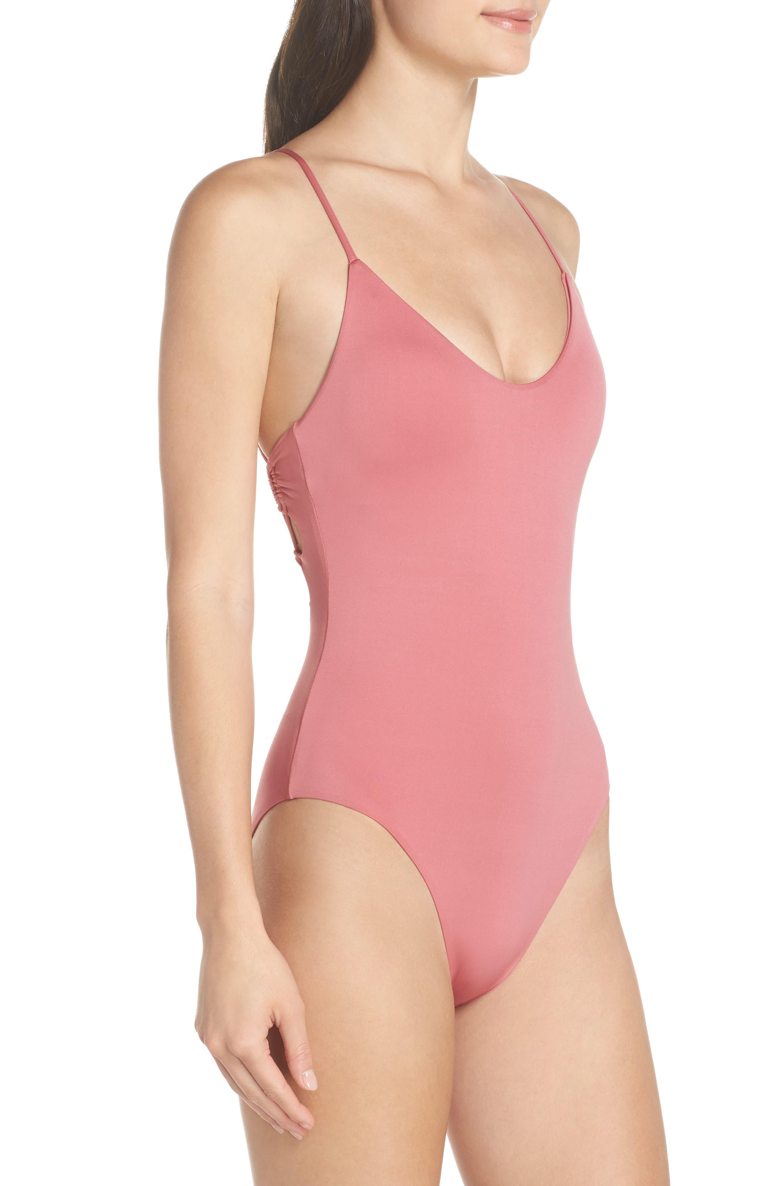 Cutout One-Piece Swimsuit,                             Alternate thumbnail 3, color,                             DUSTY ROSE