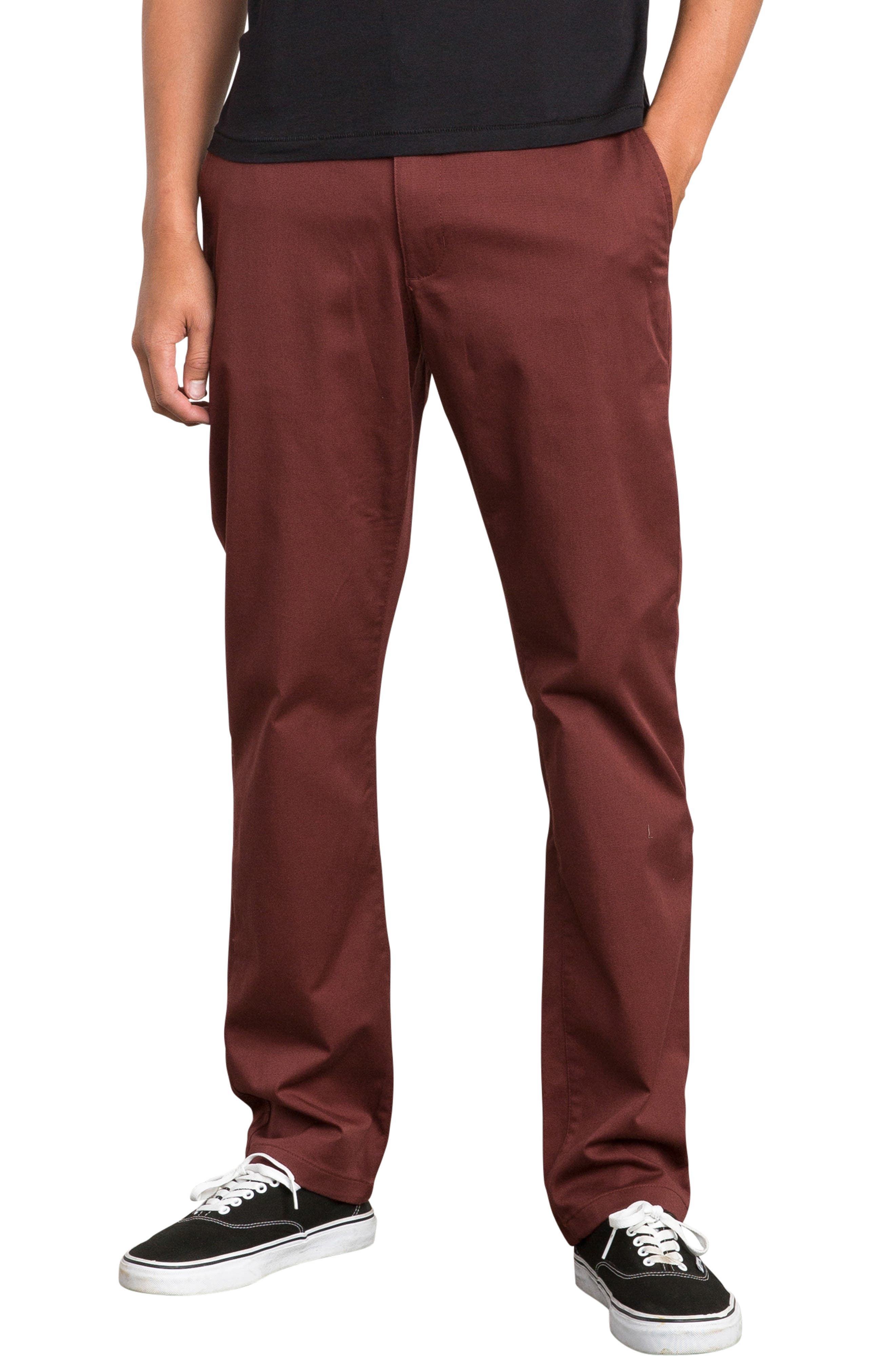 'The Week-End' Slim Straight Leg Stretch Twill Chinos,                             Main thumbnail 1, color,                             BORDEAUX