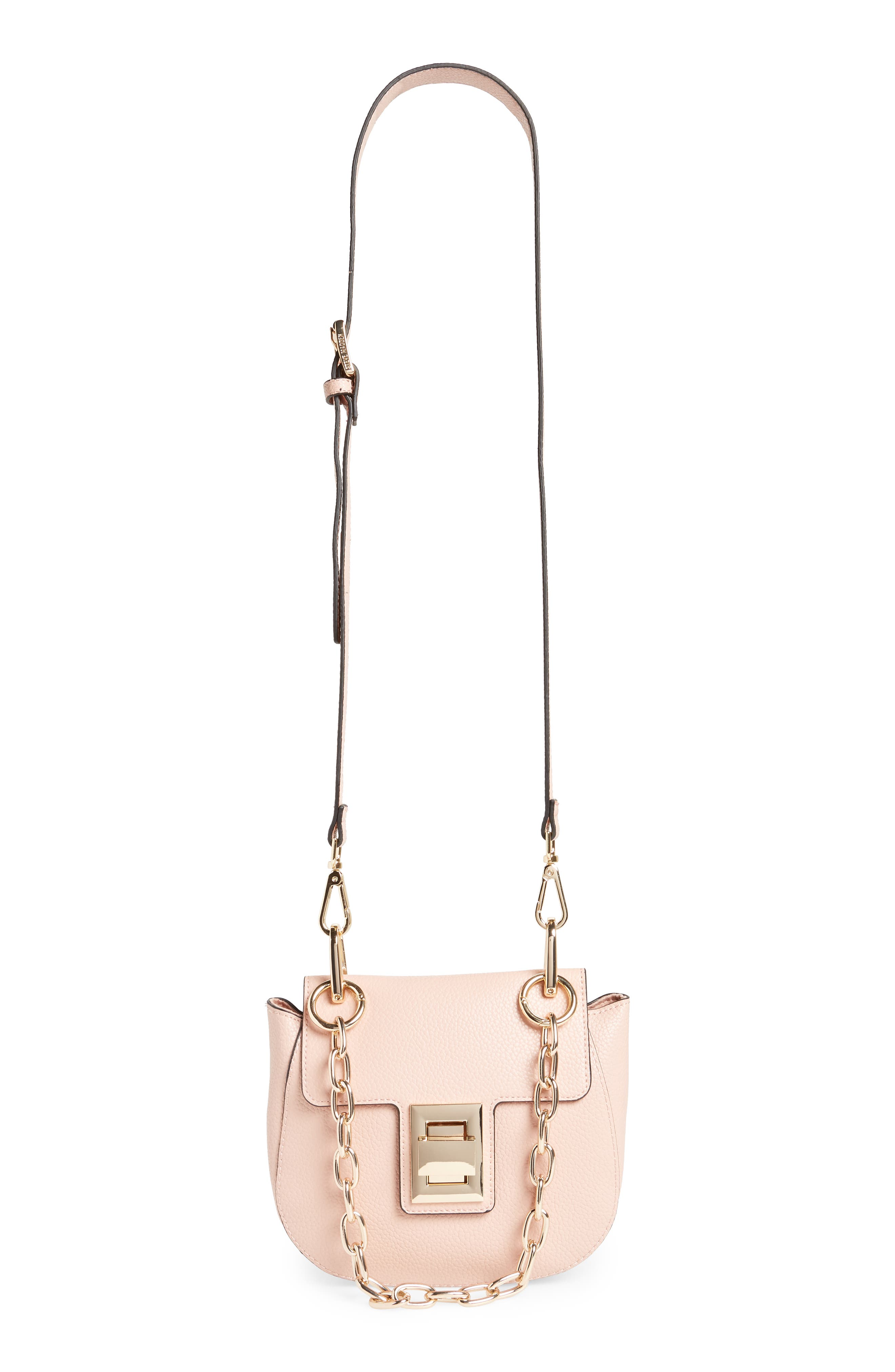 Draped Chain Faux Leather Crossbody Bag,                             Alternate thumbnail 2, color,                             BLUSH