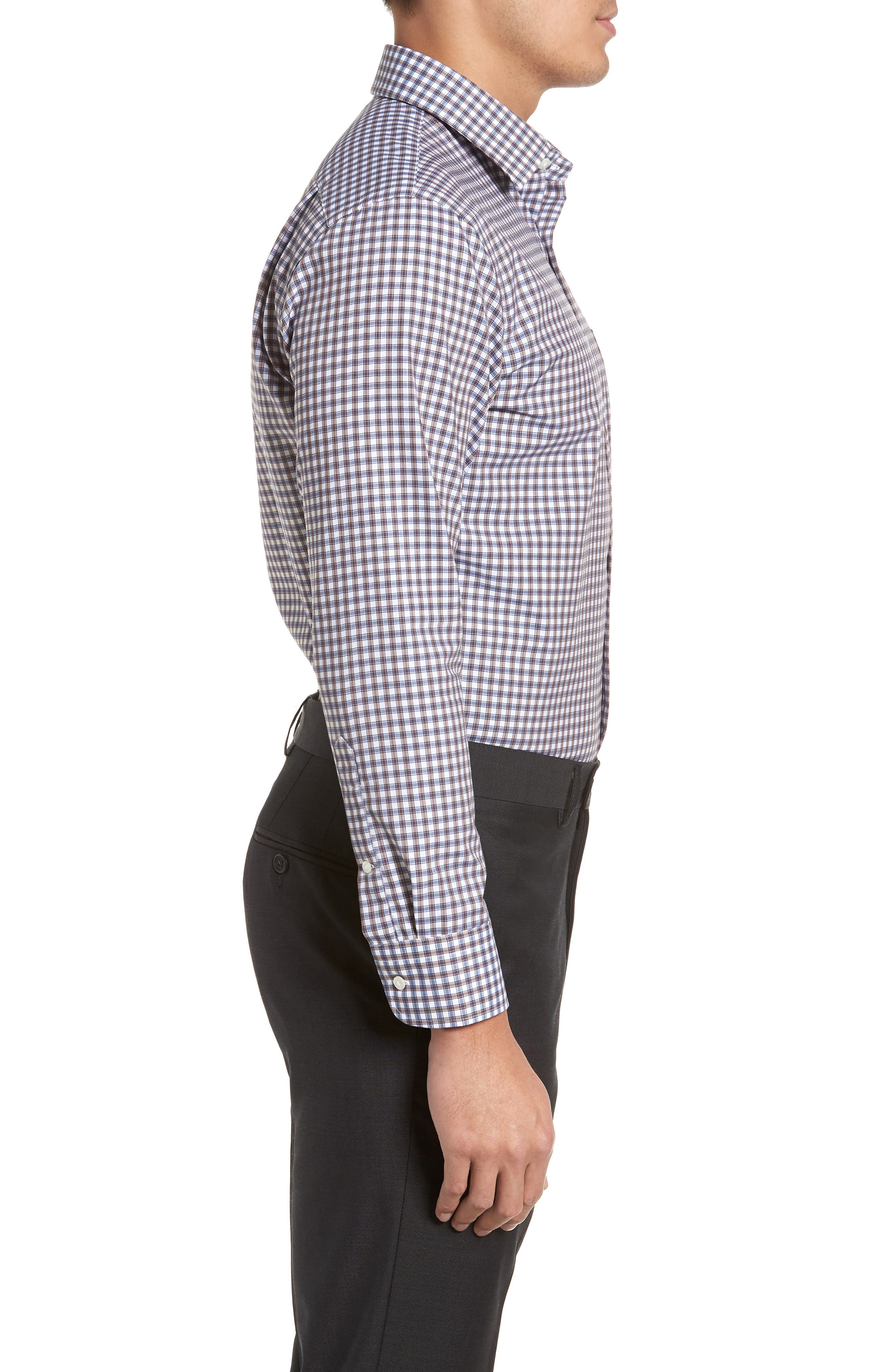 Trim Fit Non-Iron Check Dress Shirt,                             Alternate thumbnail 10, color,