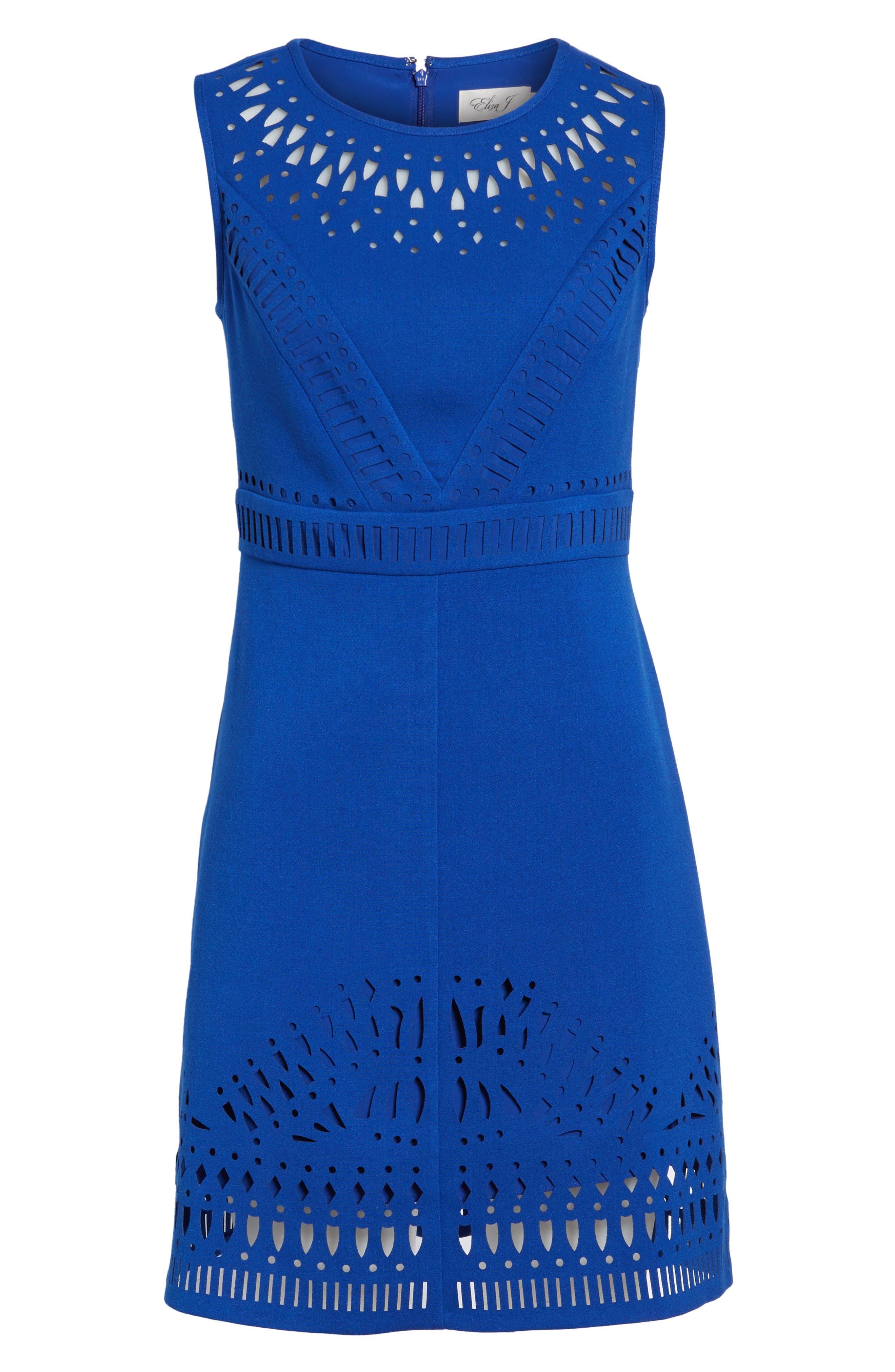 Laser Cut Crepe Sheath Dress,                             Alternate thumbnail 2, color,                             430