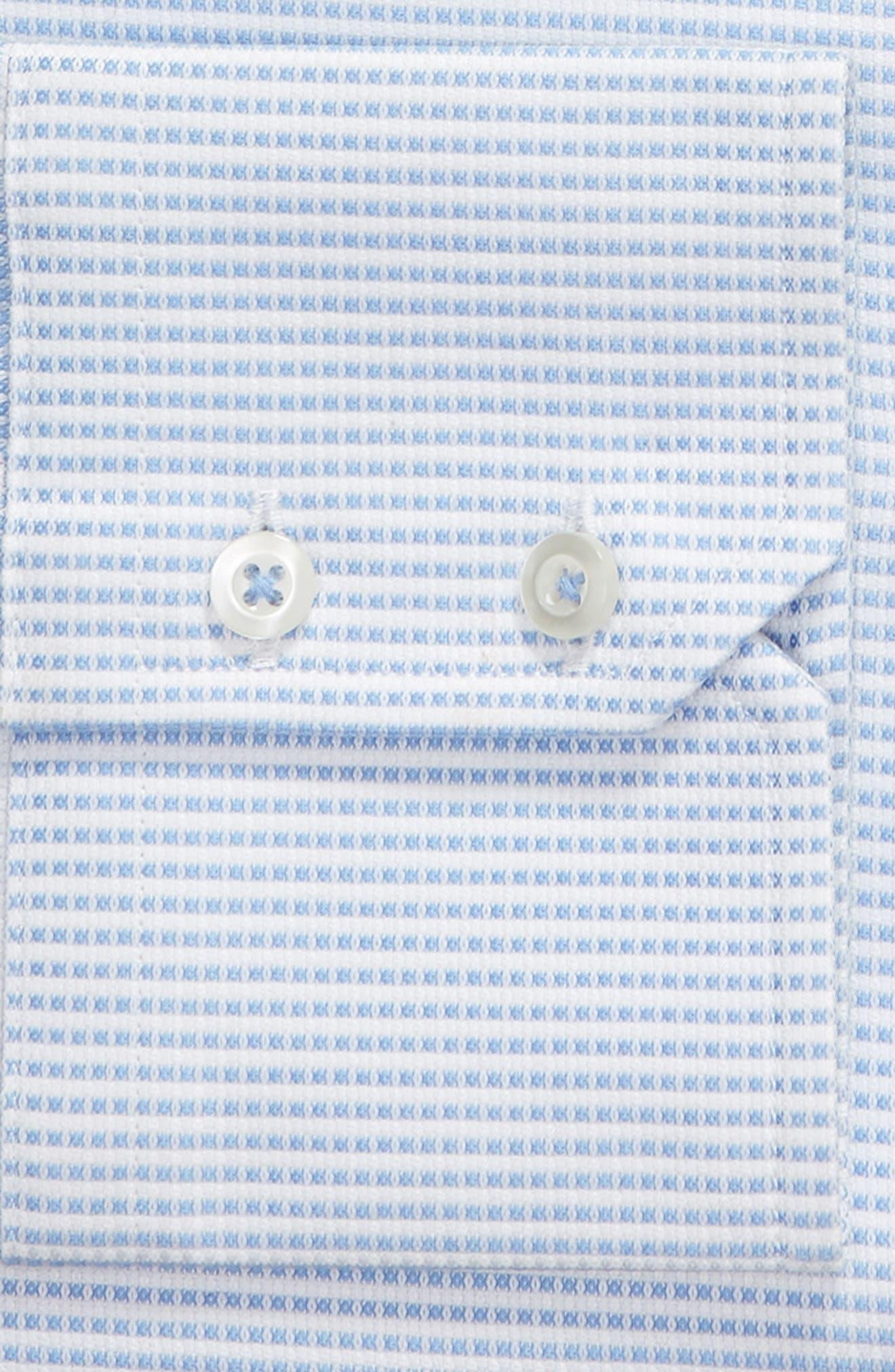 Trim Fit Solid Dress Shirt,                             Alternate thumbnail 6, color,                             BLUE