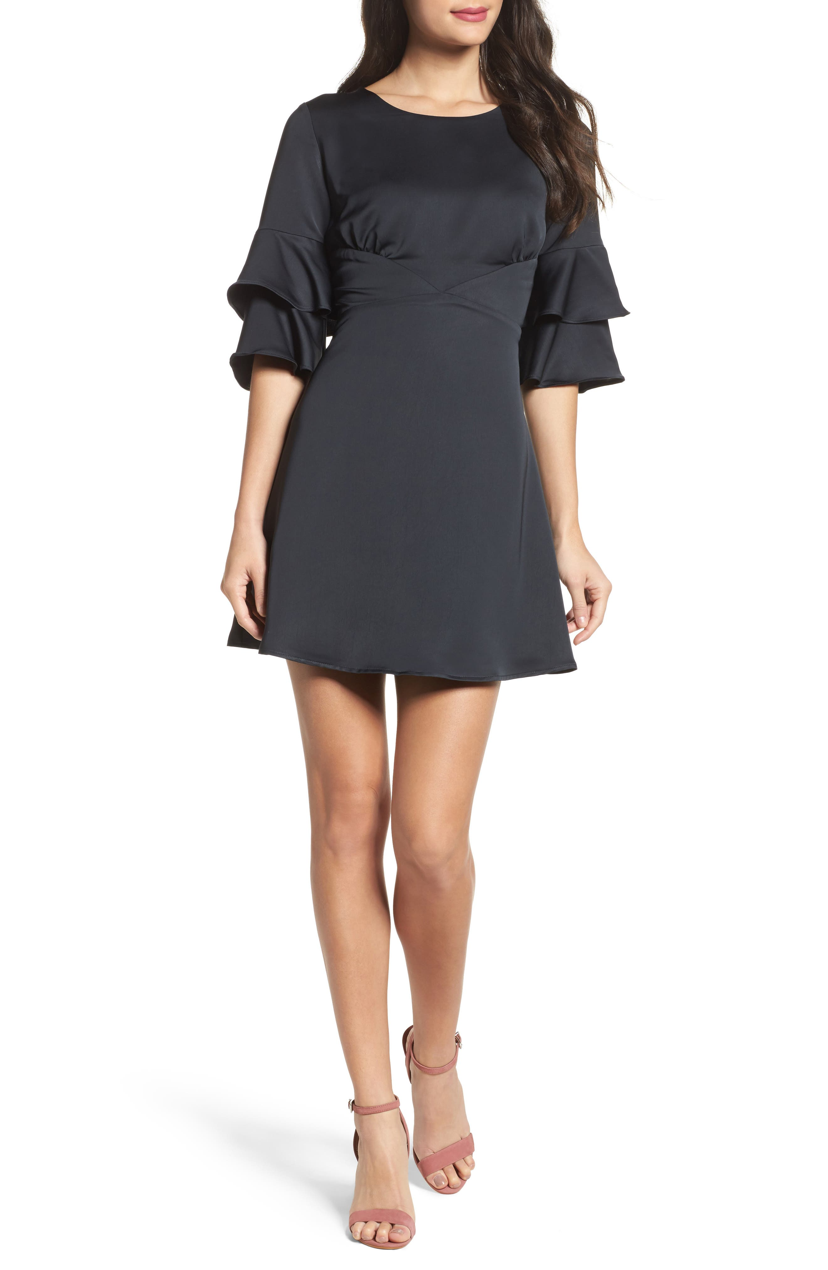 Ruffle Sleeve Satin Dress,                         Main,                         color, 001