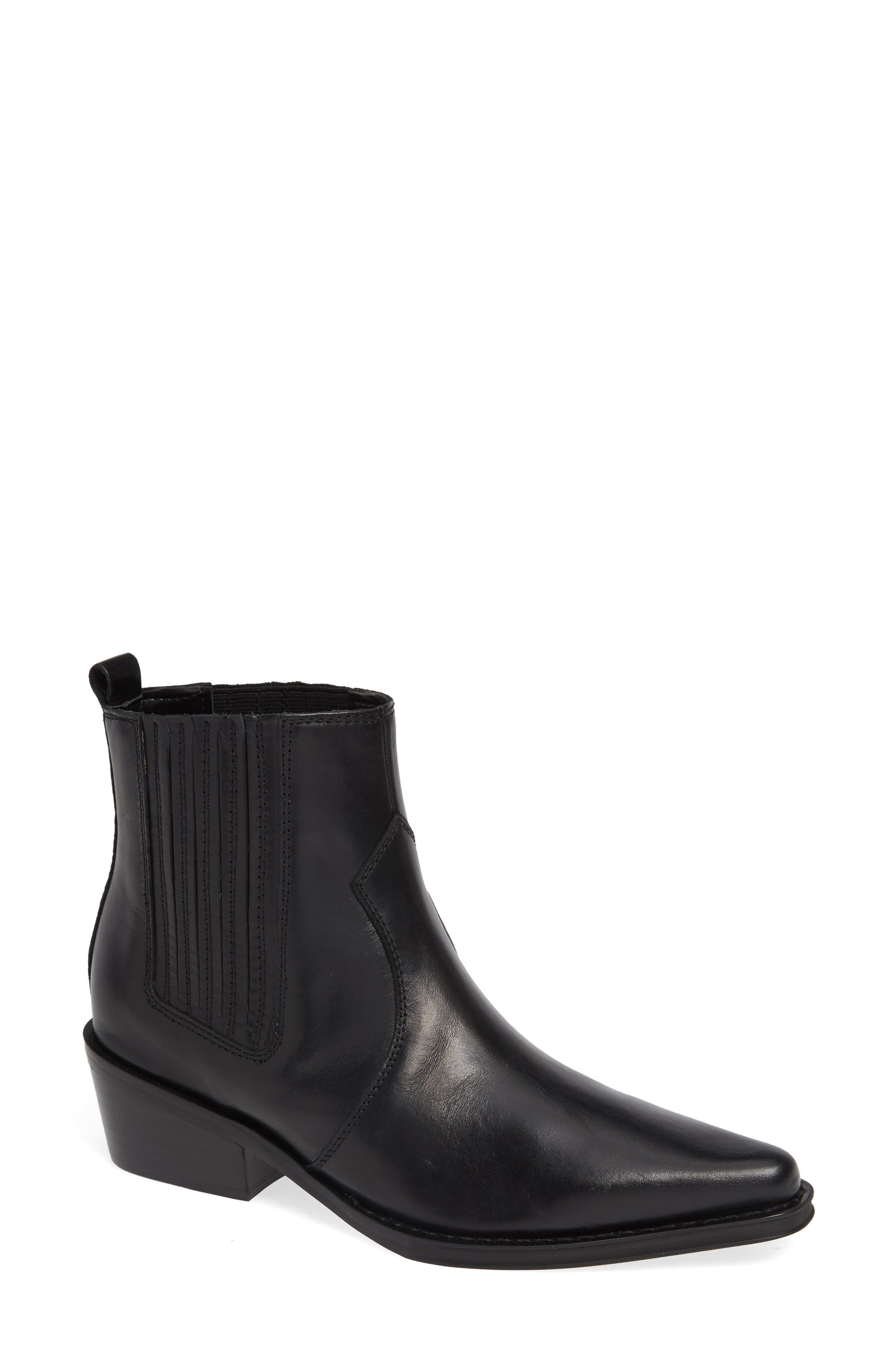 Barbara Bootie,                             Main thumbnail 1, color,                             BLACK LEATHER