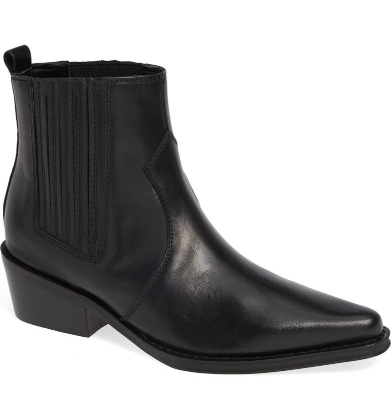 Barbara Bootie,                         Main,                         color, BLACK LEATHER