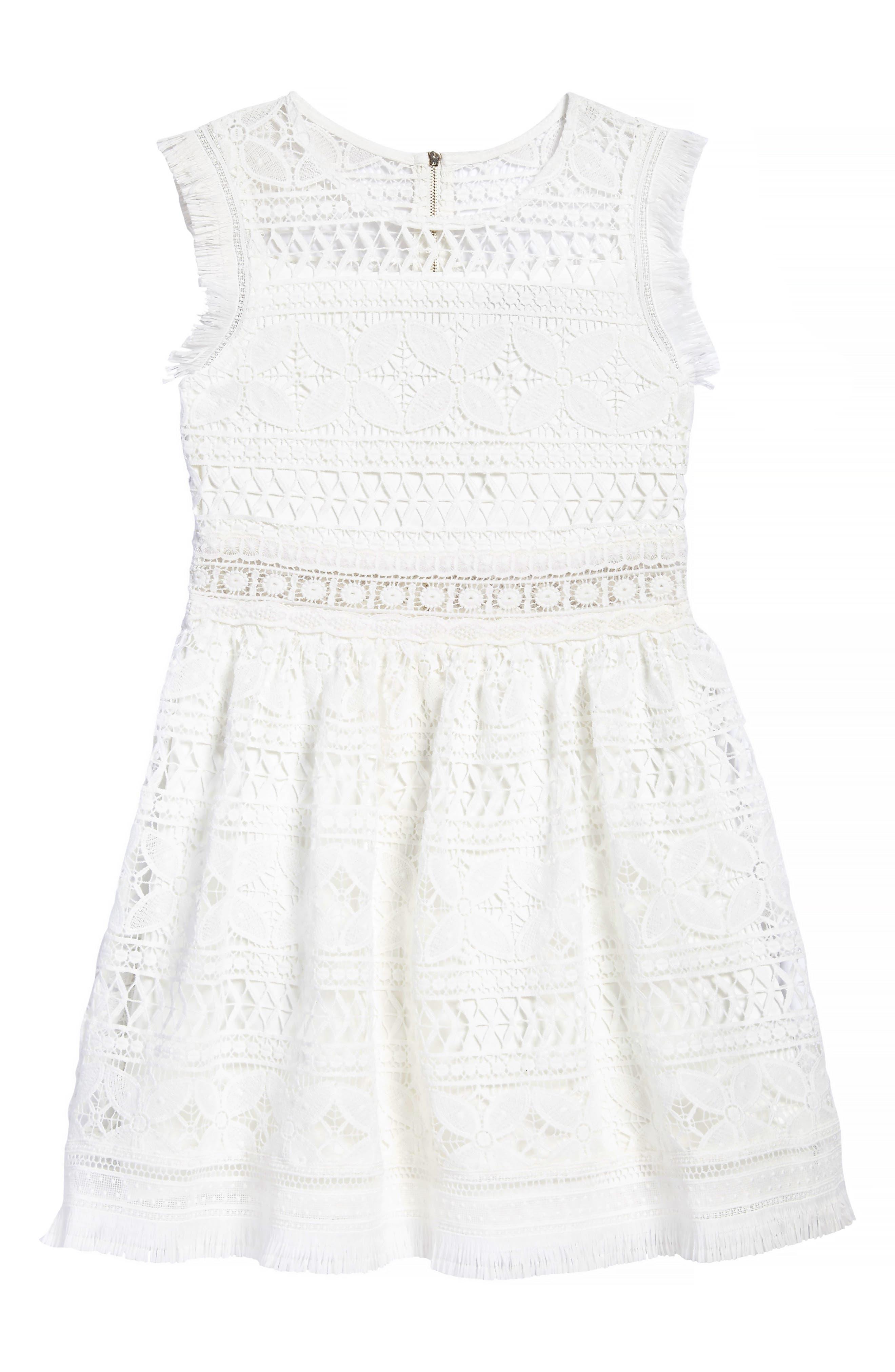 Fringe Trim Lace Dress,                         Main,                         color, 100