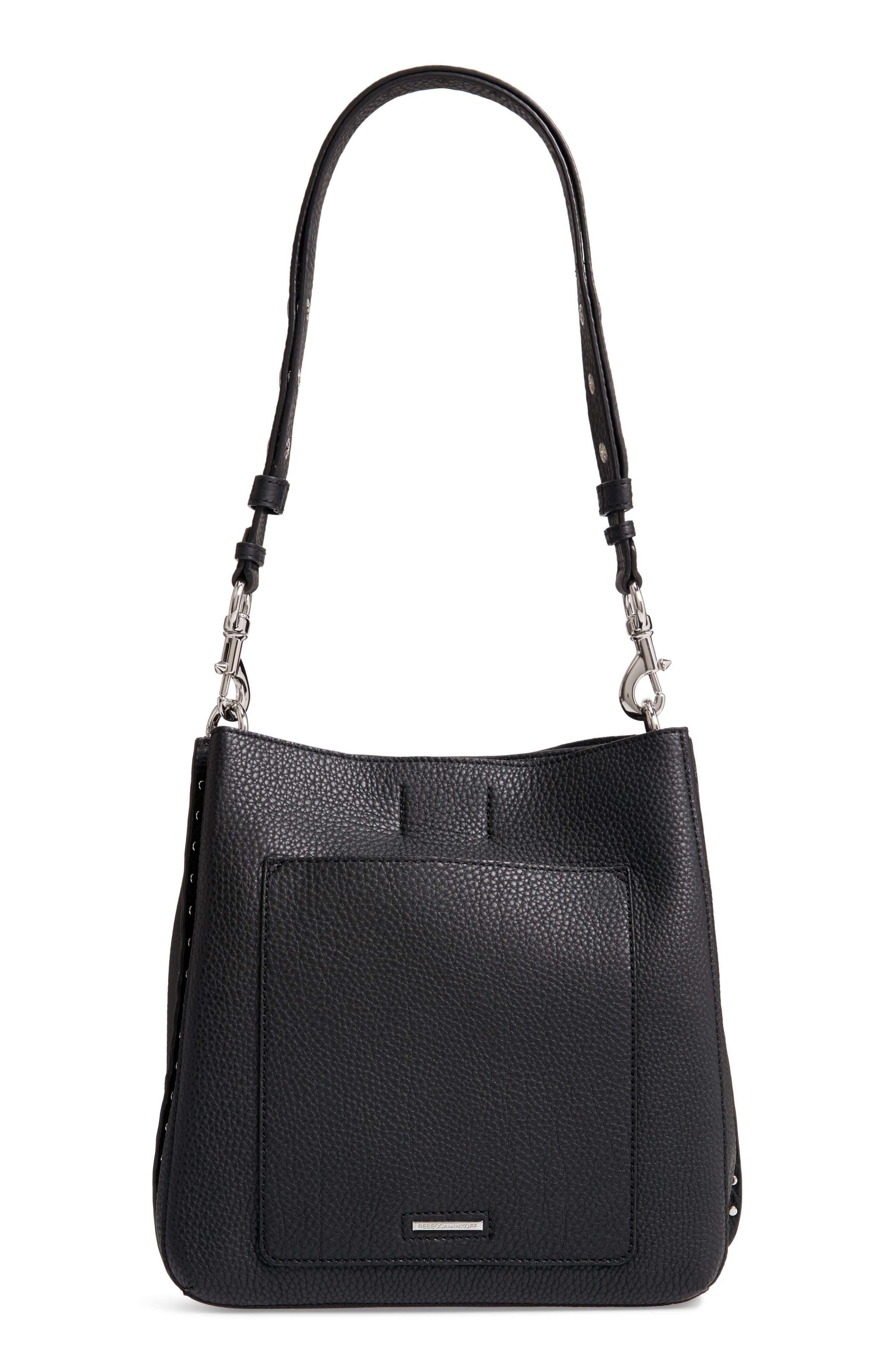 Darren Deerskin Leather Shoulder Bag,                             Alternate thumbnail 3, color,                             JET BLACK