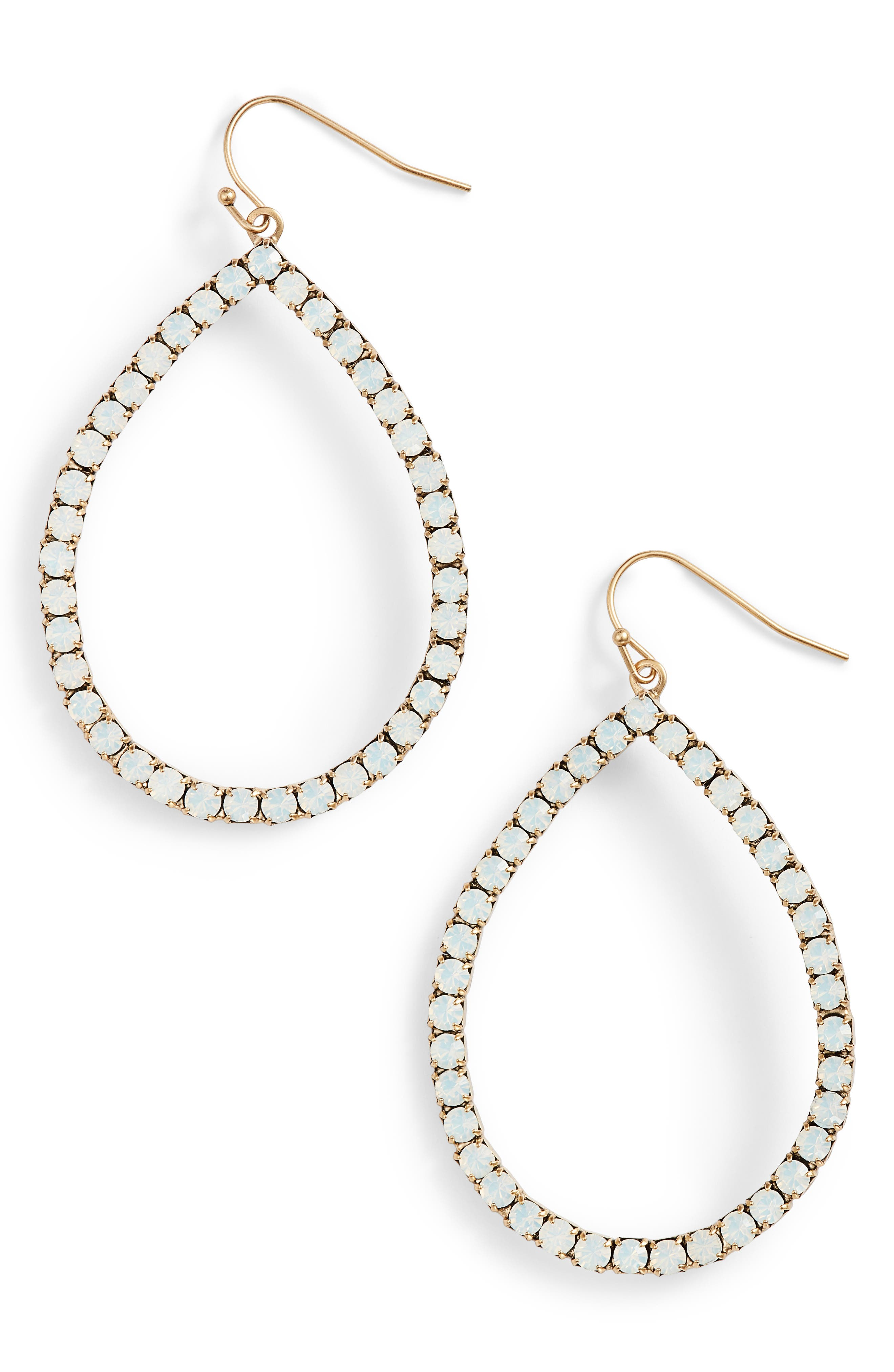 Emilia Crystal Teardrop Earrings,                         Main,                         color, 100
