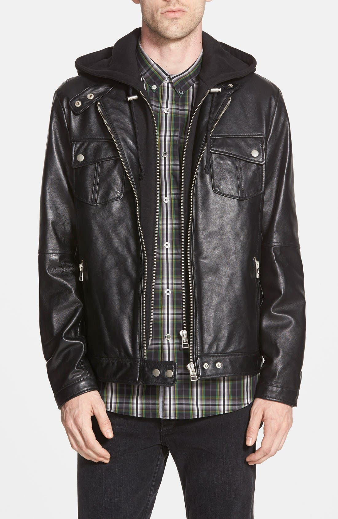 7 DIAMONDS 'Los Angeles' Trim Fit Leather Moto Jacket with Inset Hood, Main, color, 001