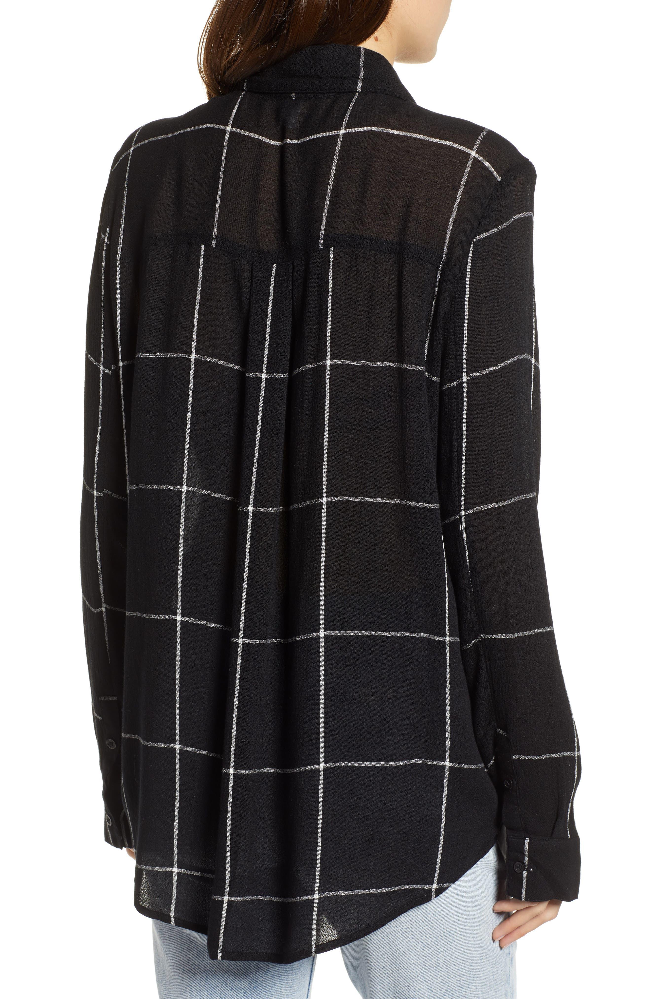 BP.,                             The Perfect Shirt,                             Alternate thumbnail 2, color,                             BLACK MAZY WINDOW PANE