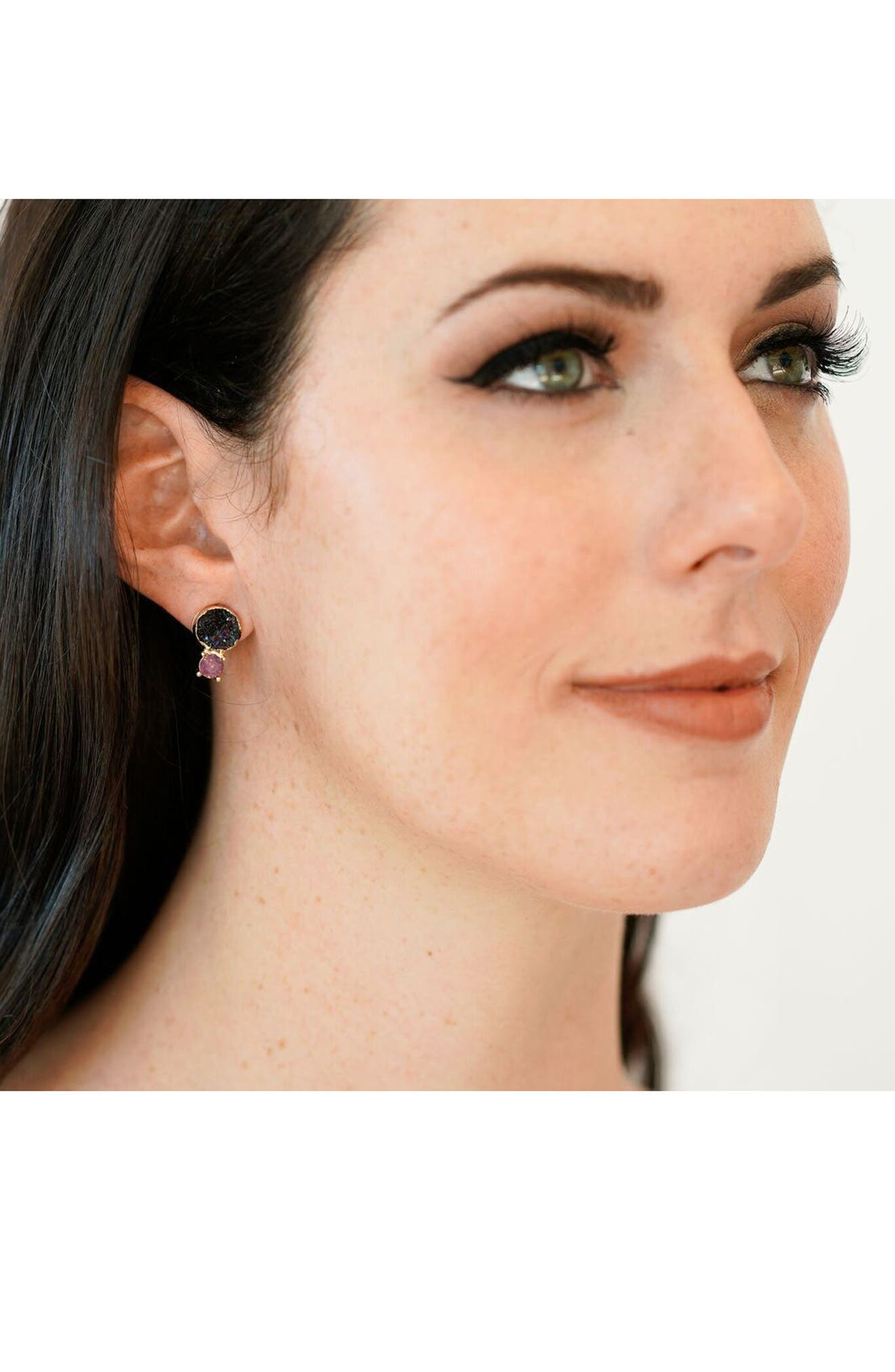 Crystal & Faux Drusy Stud Earrings,                             Alternate thumbnail 5, color,