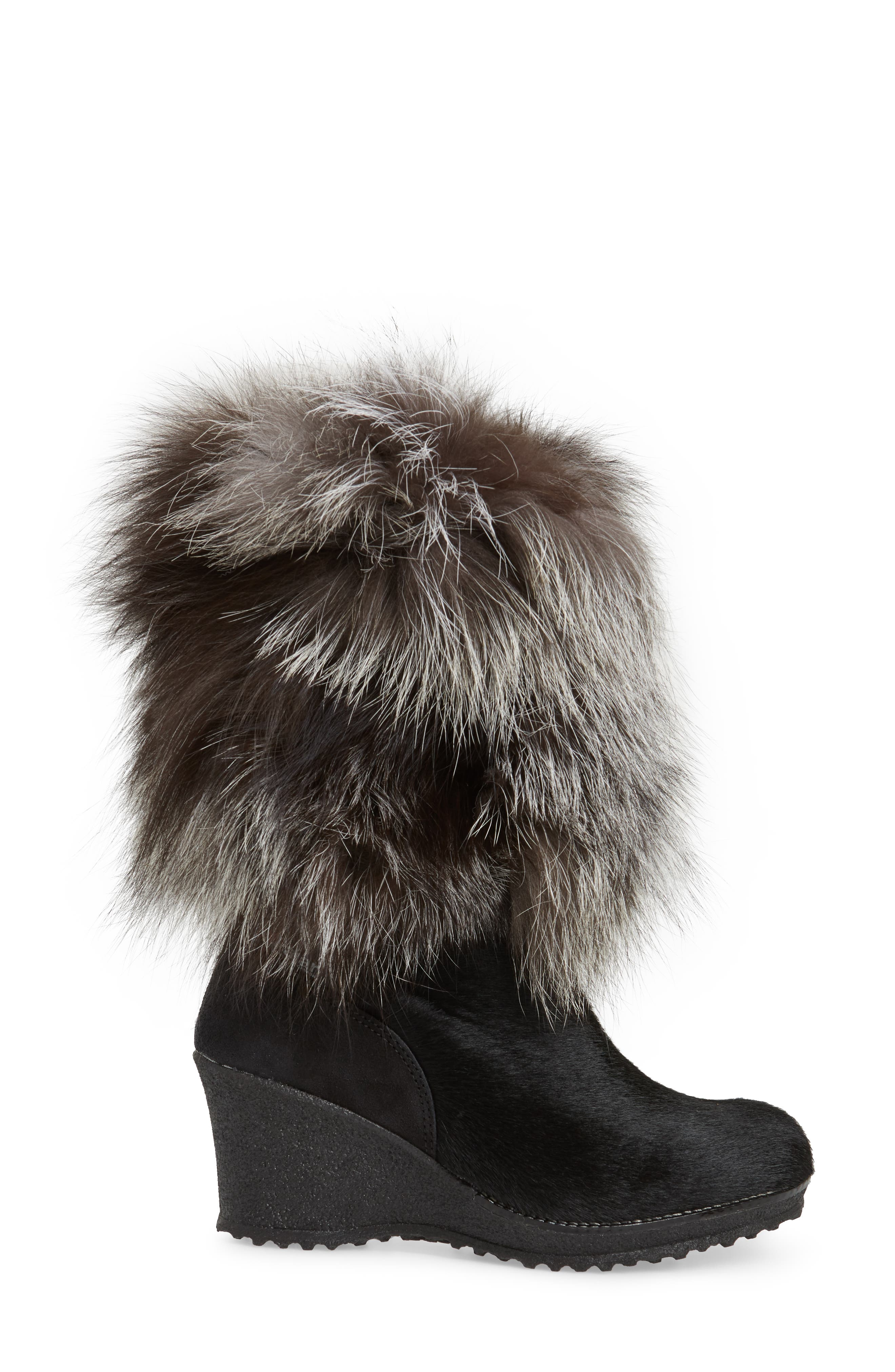 Angelina Genuine Fox Fur Wedge Boot,                             Alternate thumbnail 3, color,                             001