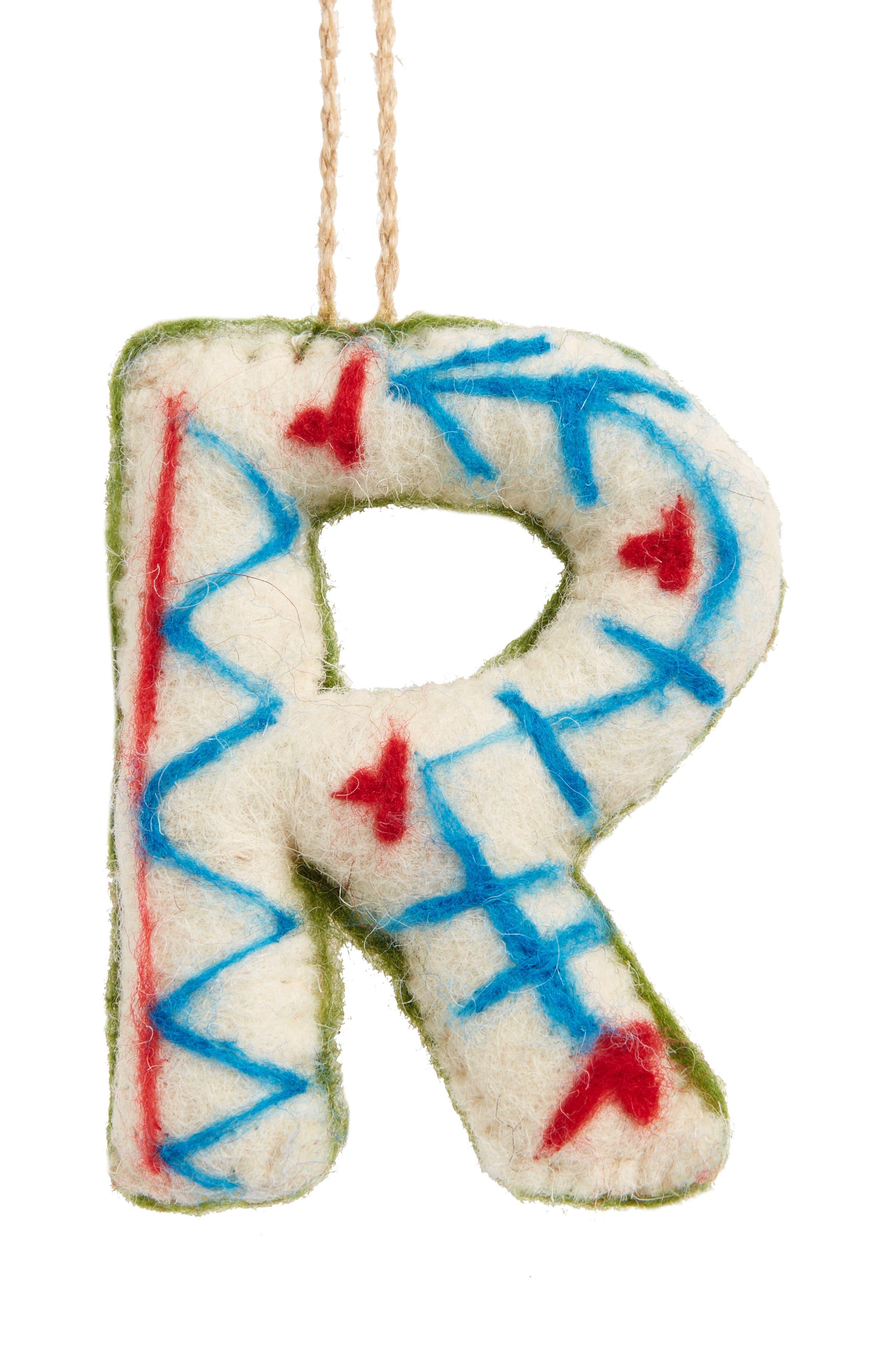 Global Folk Wool Monogram Ornament,                             Main thumbnail 18, color,